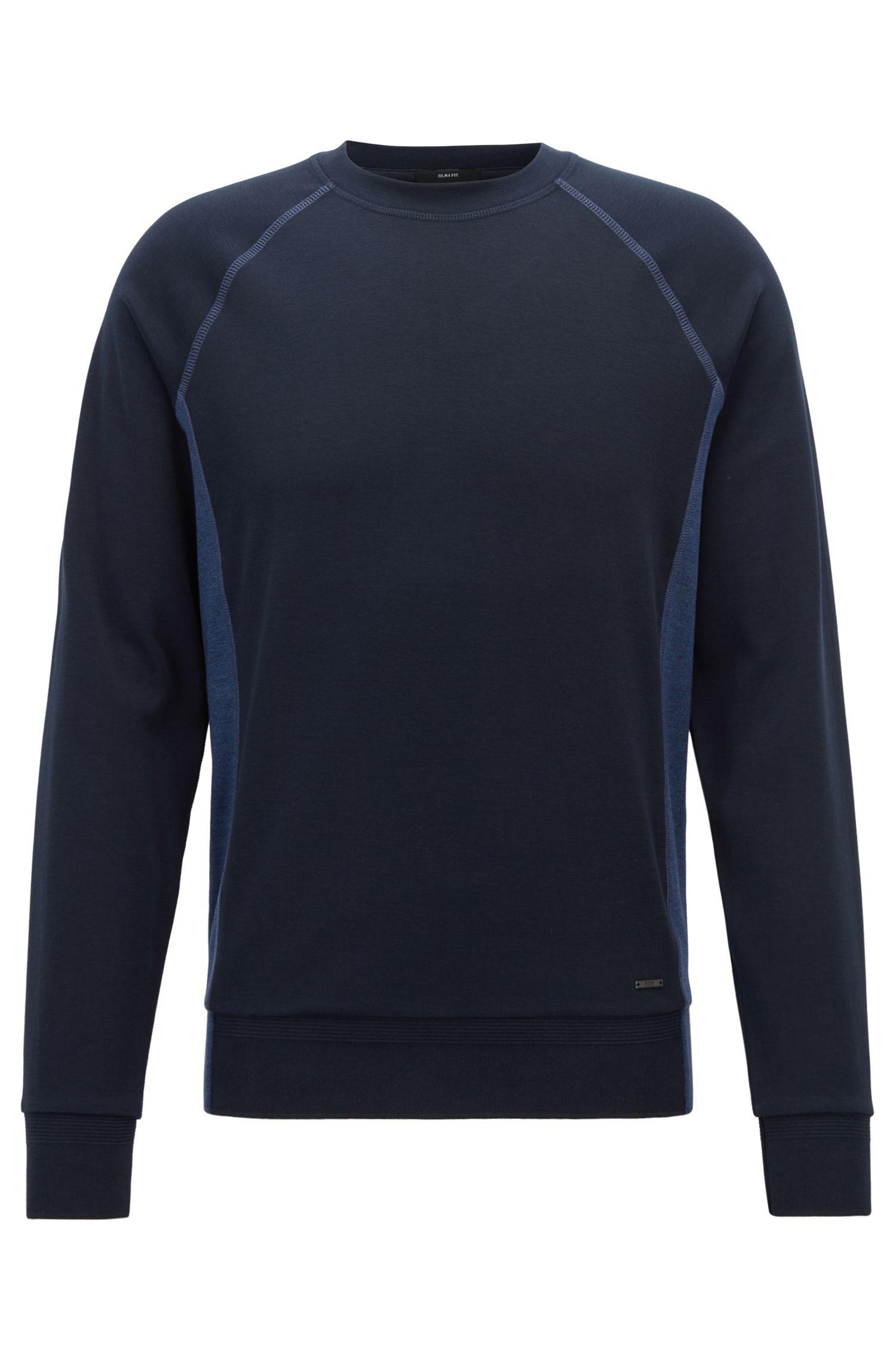 Sweat Slim Fit en coton structuré orné de détails color block, Bleu foncé