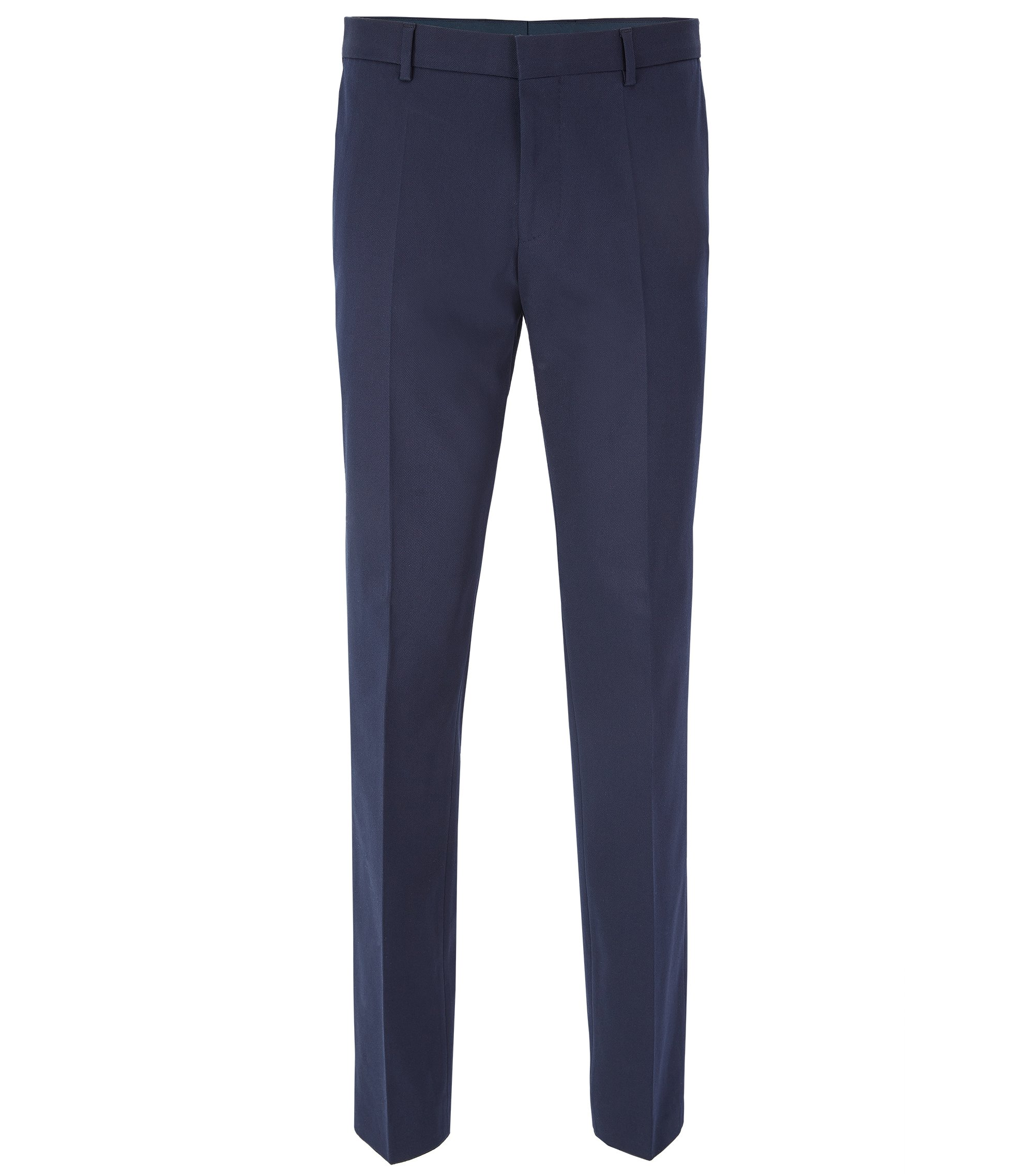 Slim-fit stretch-cotton trousers with AMF stitching, Dark Blue