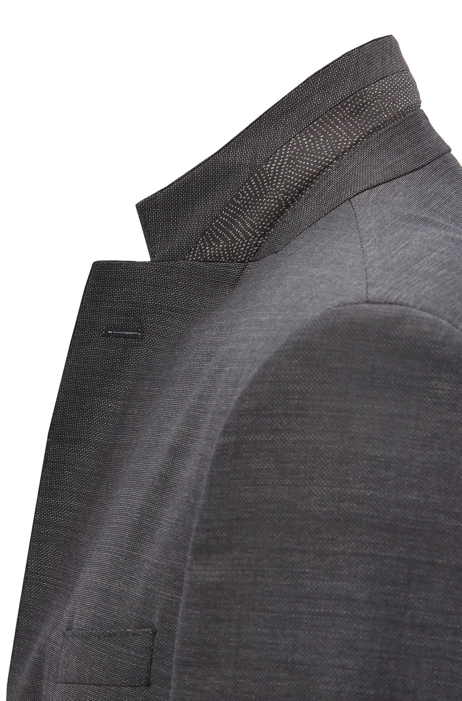 Regular-fit virgin wool suit with AMF stitching