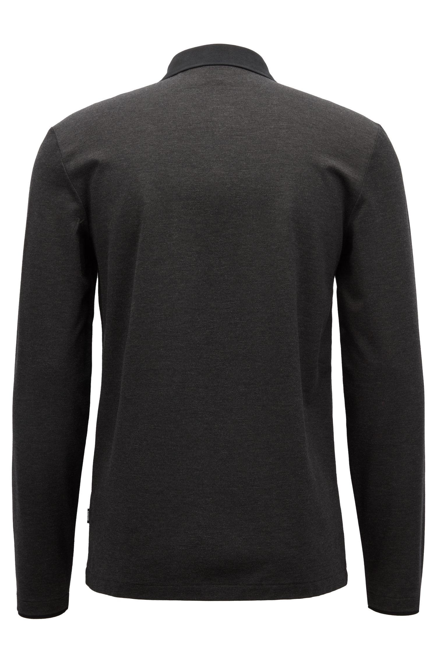 Polo à manches longues en coton mercerisé à rayures fines, Noir