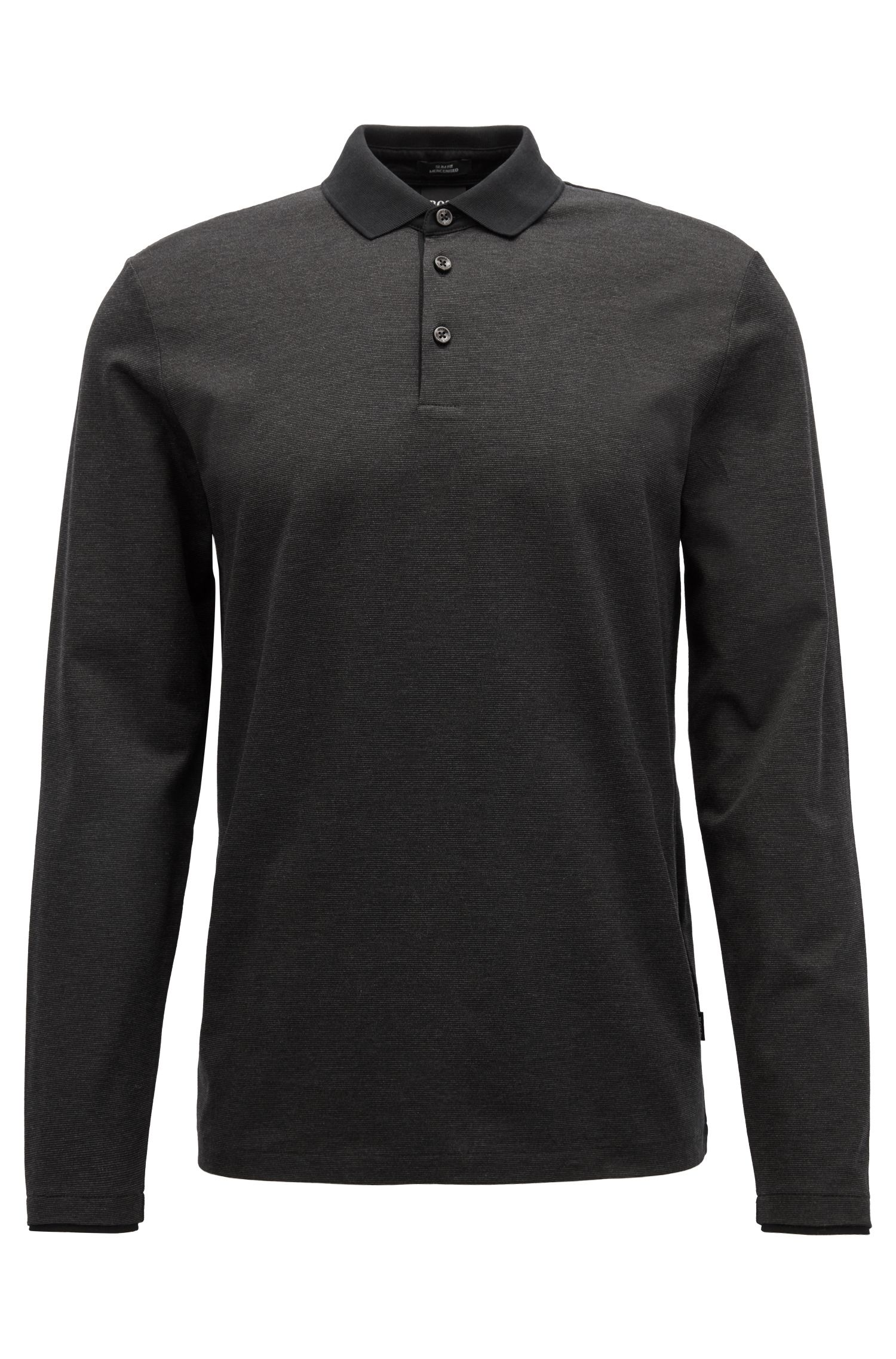 Long-sleeved polo shirt in finely striped mercerised cotton, Black