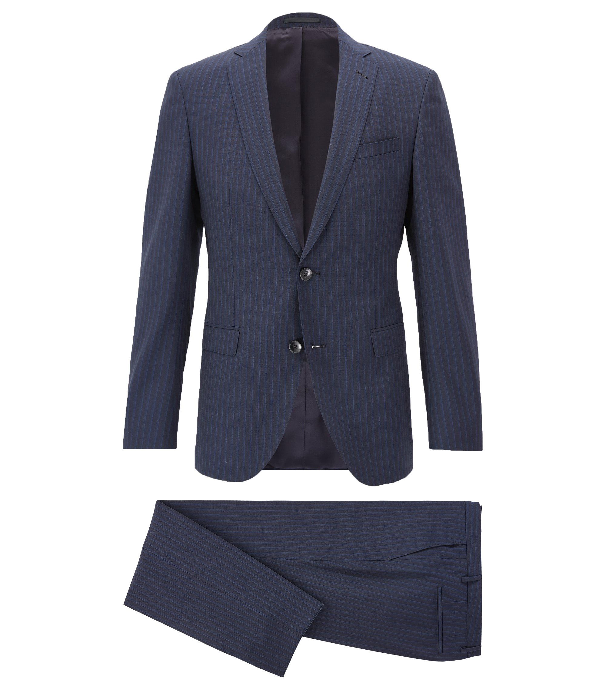 Extra slim-fit suit in virgin wool with AMF stitching, Dark Blue