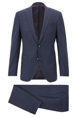 Costume Extra Slim Fit en laine vierge à coutures AMF, Bleu foncé