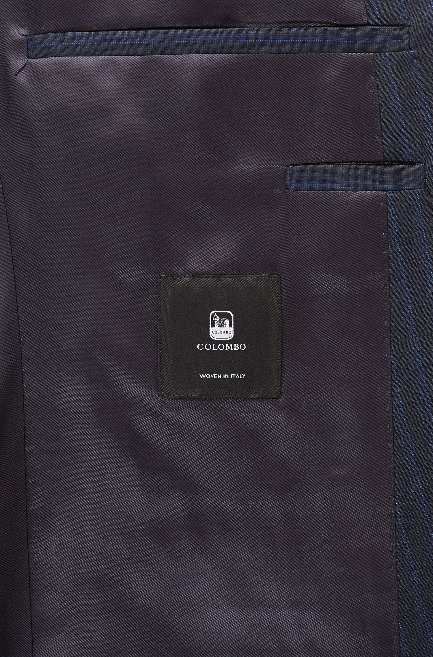 Extra slim-fit suit in virgin wool with AMF stitching