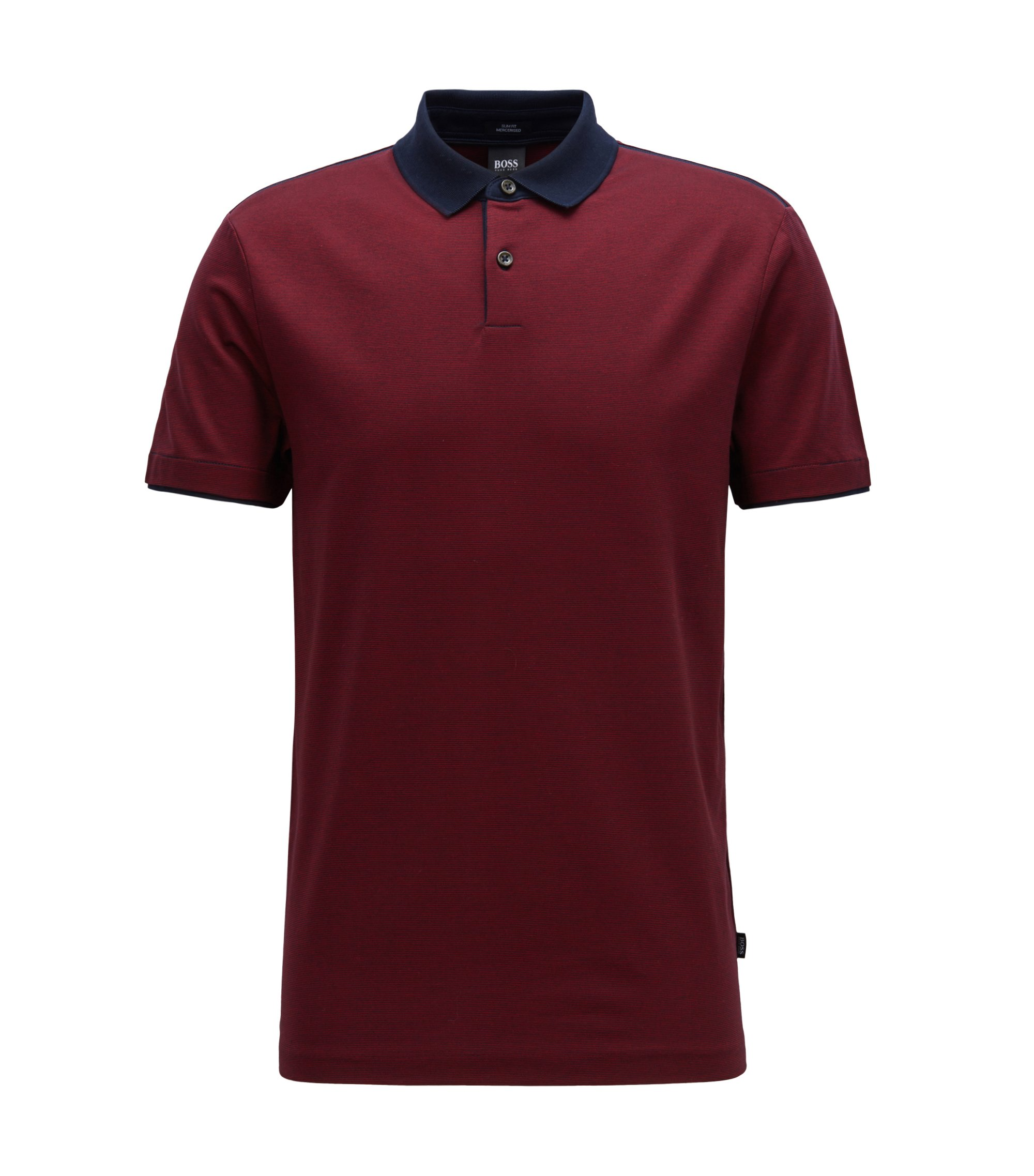 Slim-fit polo shirt in mercerised cotton, Dark Red