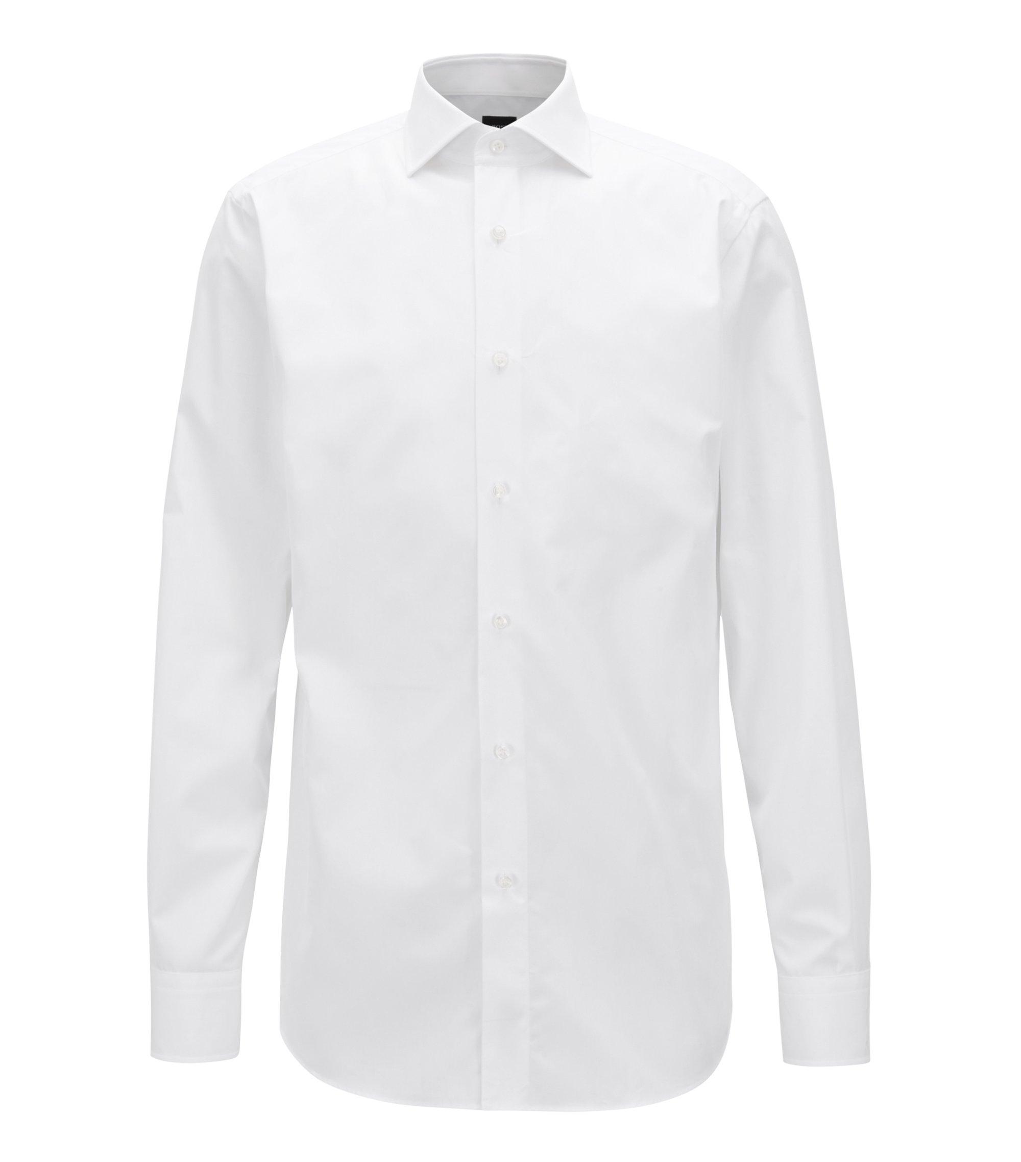 Maatwerkoverhemd van tweedraadse, Italiaanse katoenen popeline, Wit
