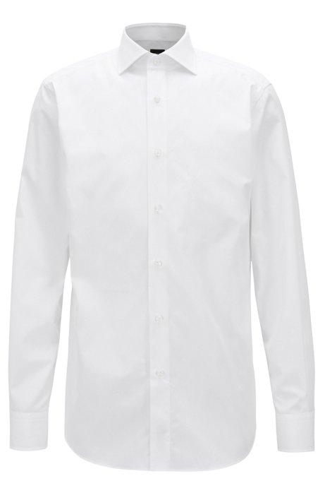 Camisa de sastrería en popelín de algodón italiano de 2 capas, Blanco