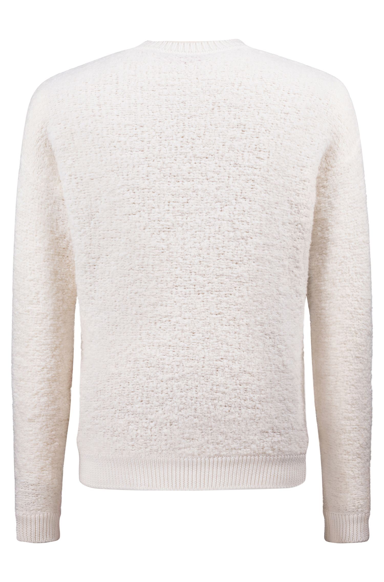 Oversized shearling-effect bouclé sweater with chunky ribbing, White
