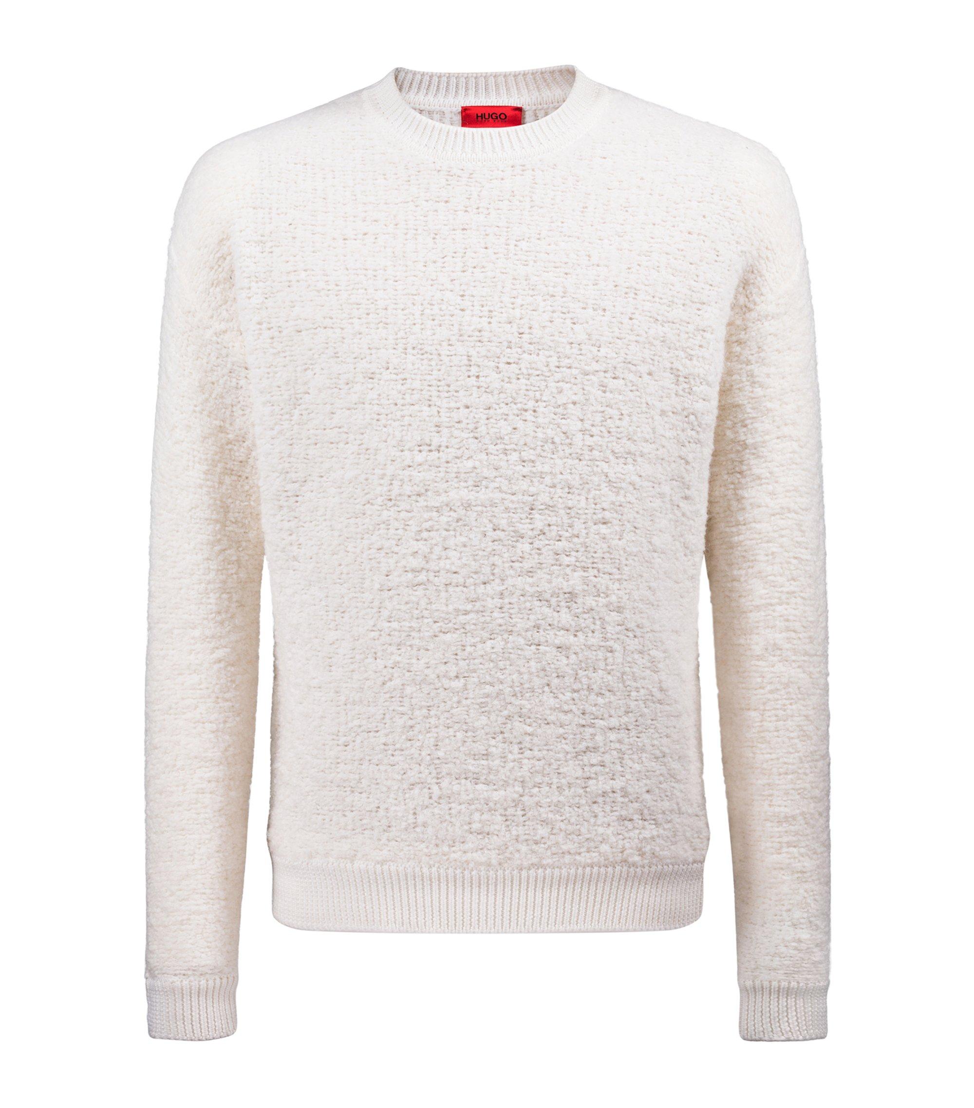 Maglione oversize in bouclé effetto shearling con bordo a coste grosse, Bianco