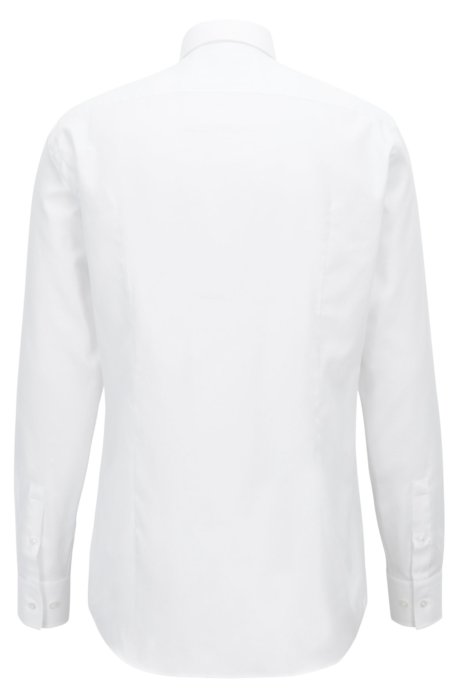 Slim-fit shirt in pure cotton with diagonal structure