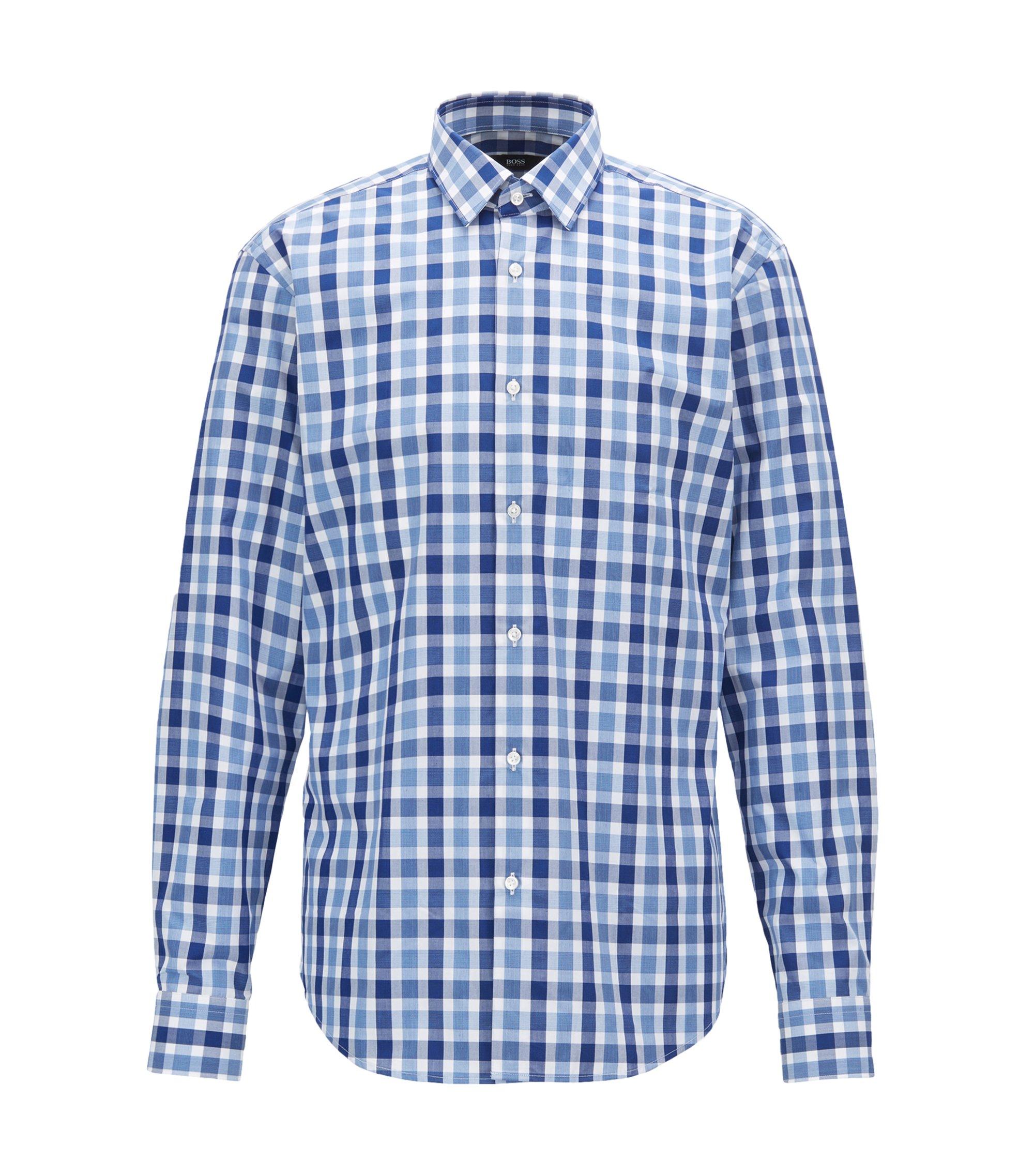 Camisa regular fit en popelín de algodón con estampado de cuadros vichy, Azul