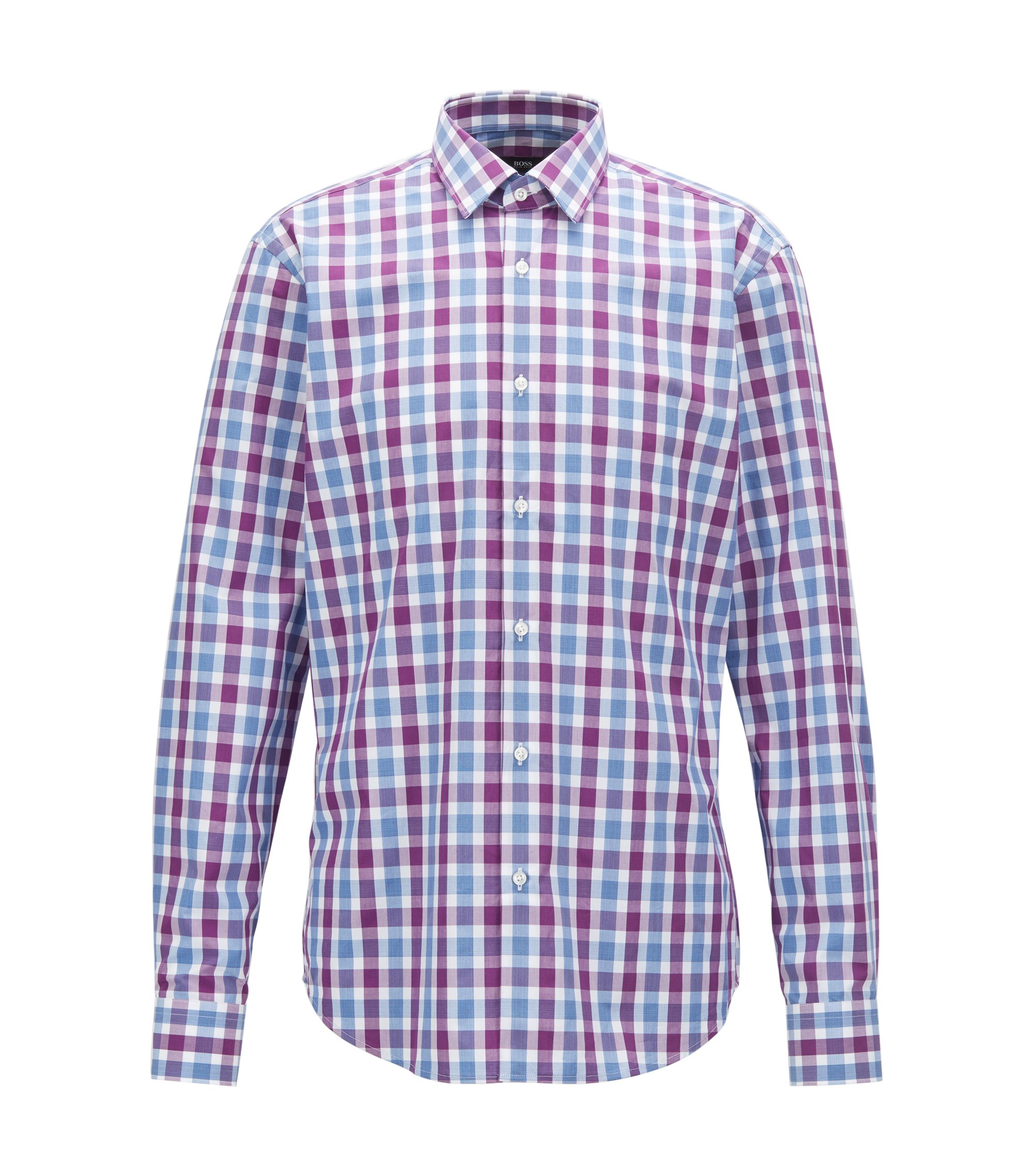 Regular-fit shirt in cotton poplin with Vichy check, Dark pink