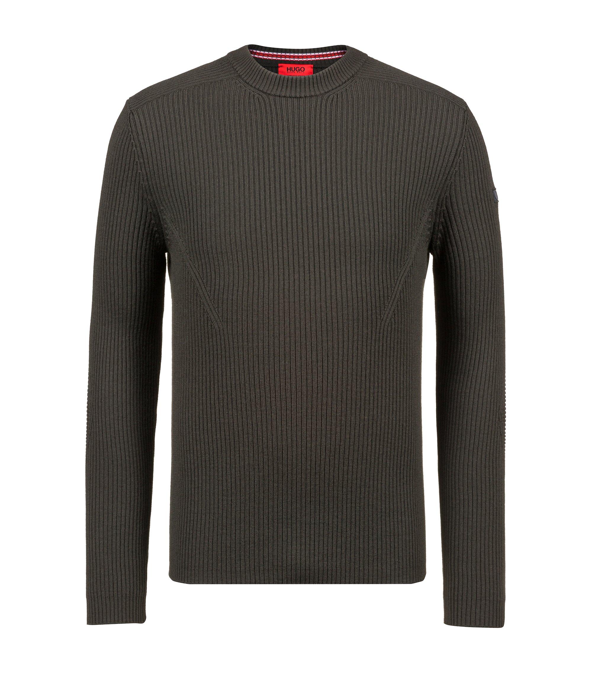 Pull Extra Slim Fit en laine vierge avec détails militaires, Vert sombre