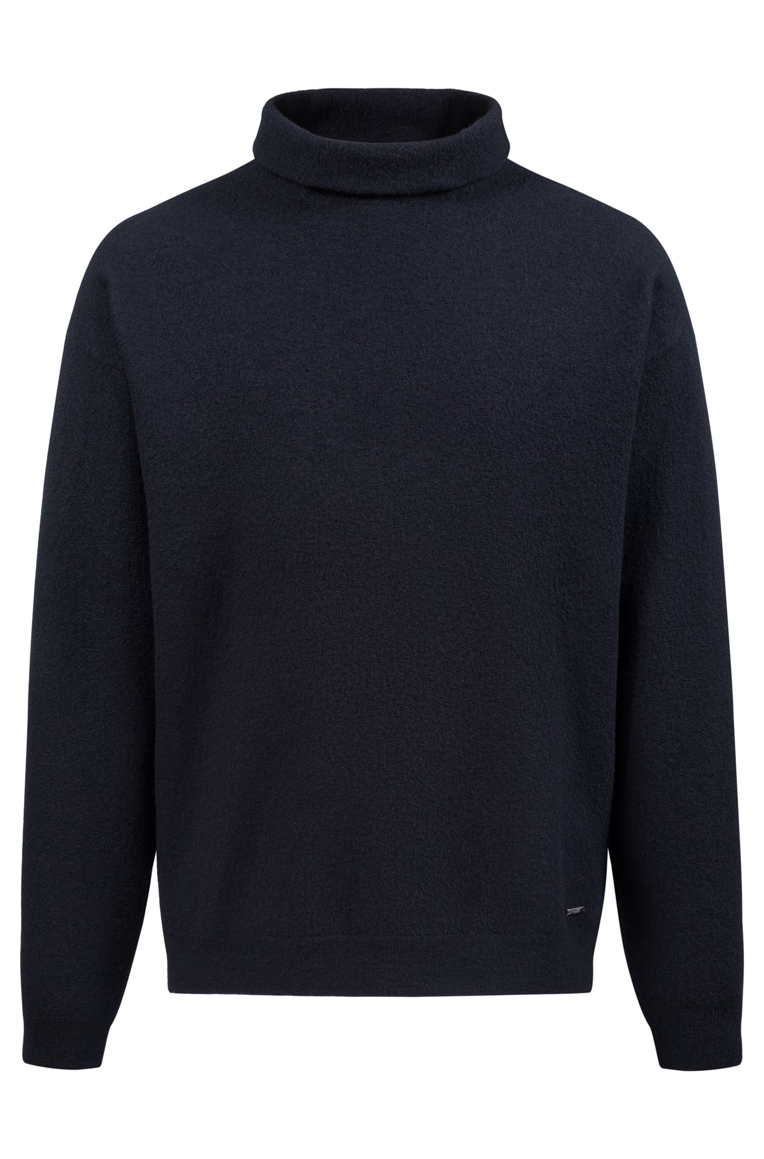 Unisex oversized sweater in felted wool with funnel neck, Dark Blue