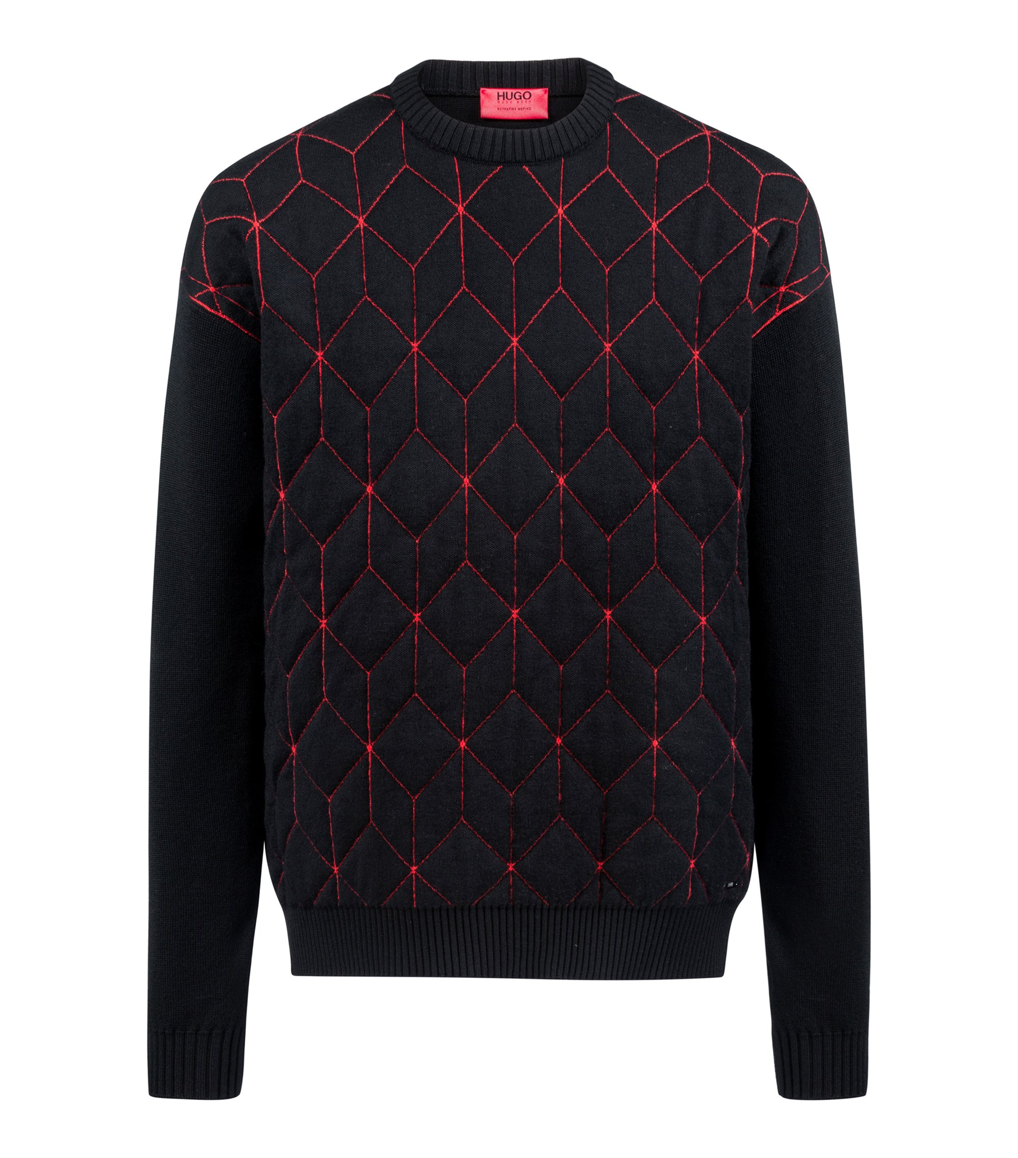 Oversized-fit sweater in virgin wool with geometric pattern, Patterned