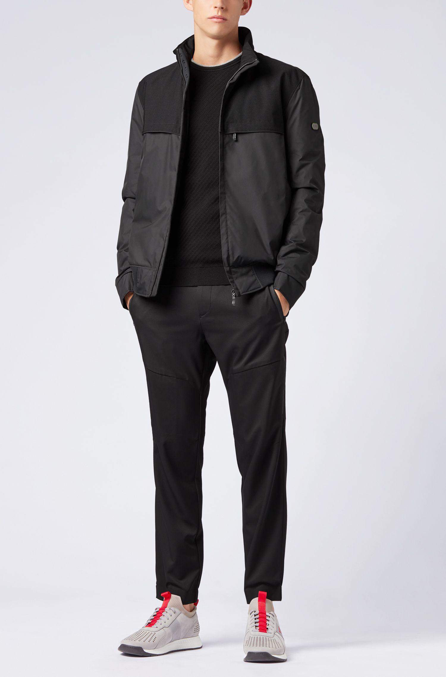 Pullover aus Stretch-Baumwolle mit Kontrast-Streifen, Schwarz