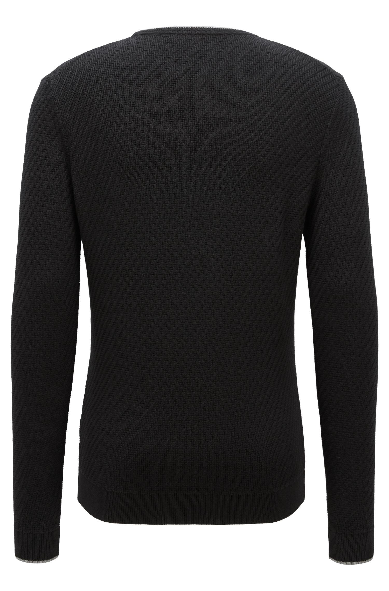 Sweater in a stretch-cotton blend with tipping stripes, Black