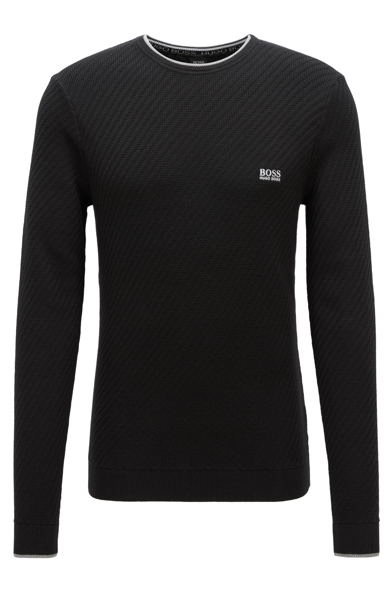 Pull en coton stretch mélangé avec rayures aux extrémités, Noir