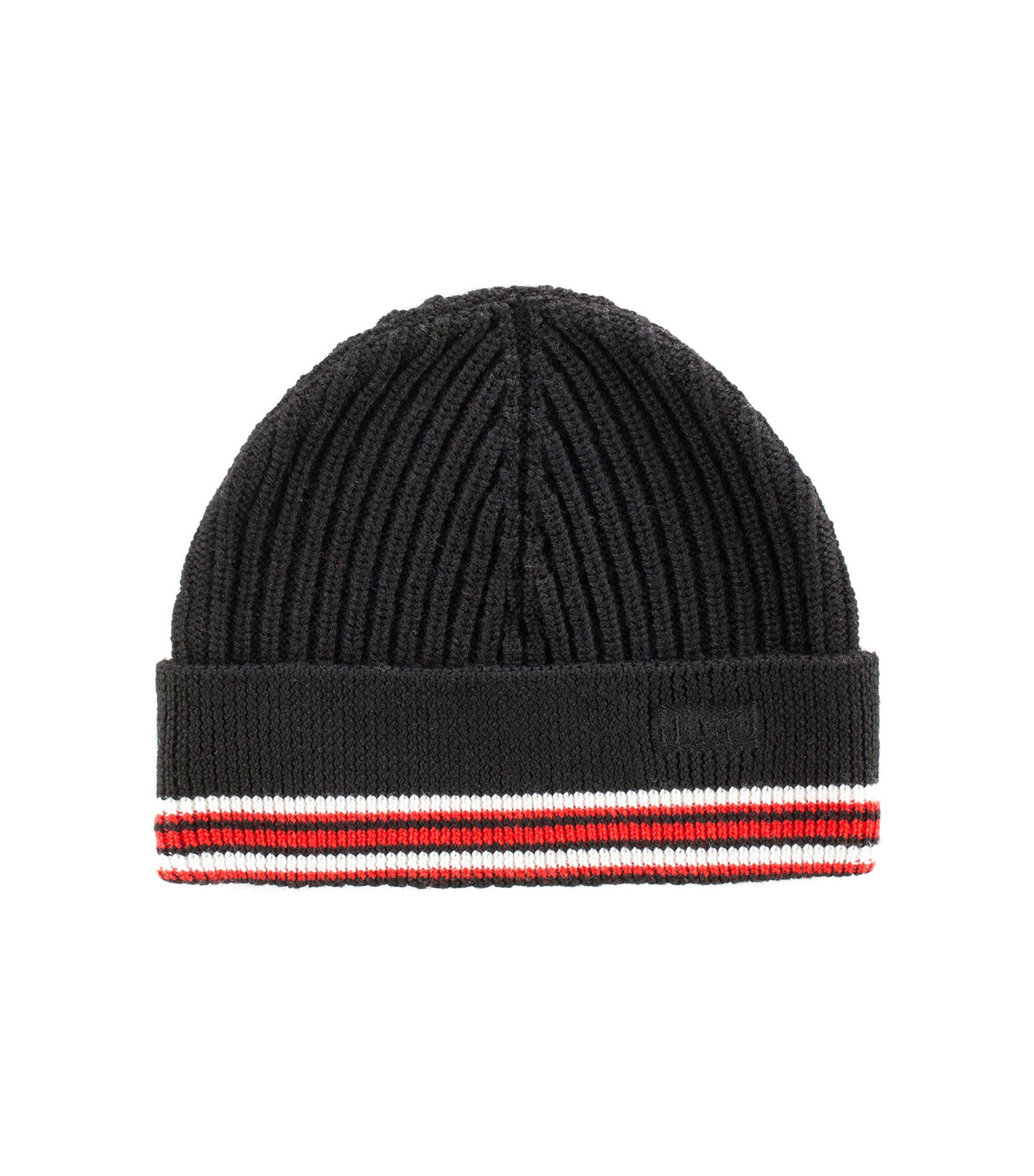 Ribbed merino-wool beanie hat with logo embroidery, Black
