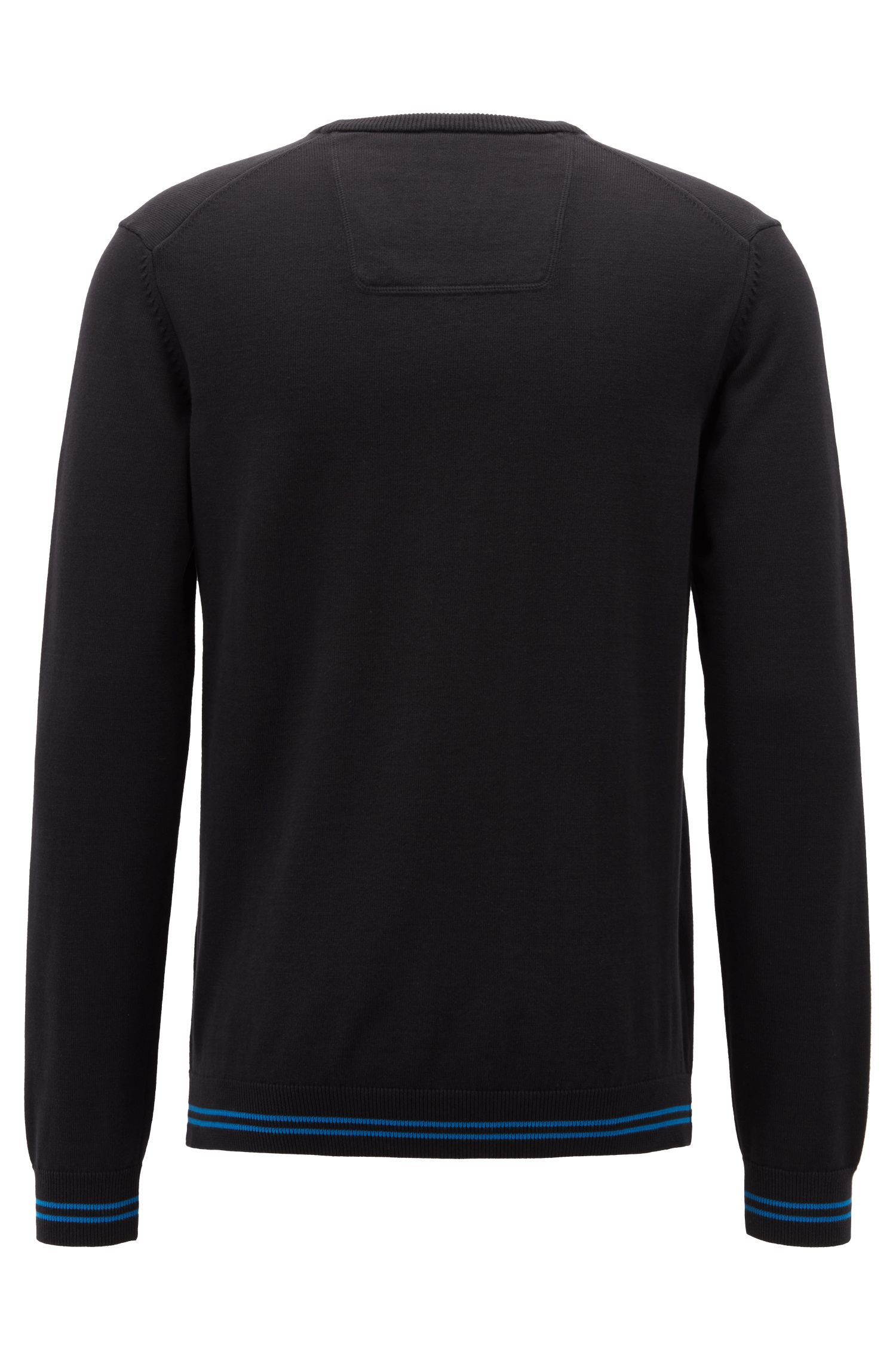 V-neck sweater in a cotton blend with tipping stripes, Black