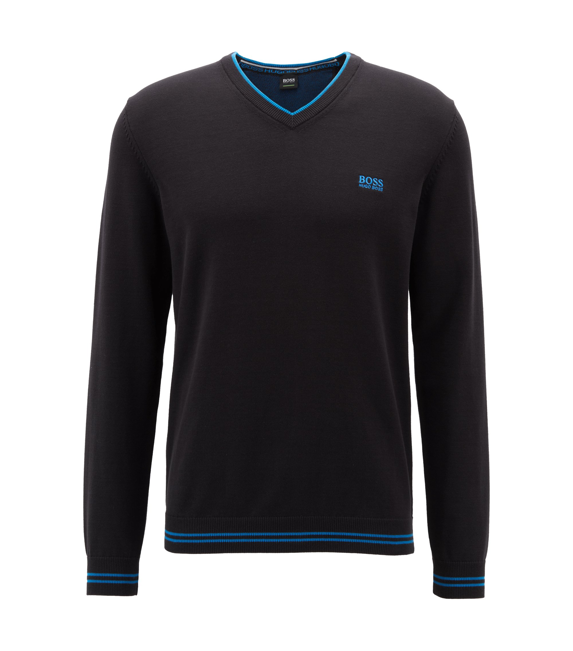 Pullover aus Baumwoll-Mix mit V-Ausschnitt und Kontrast-Streifen, Schwarz