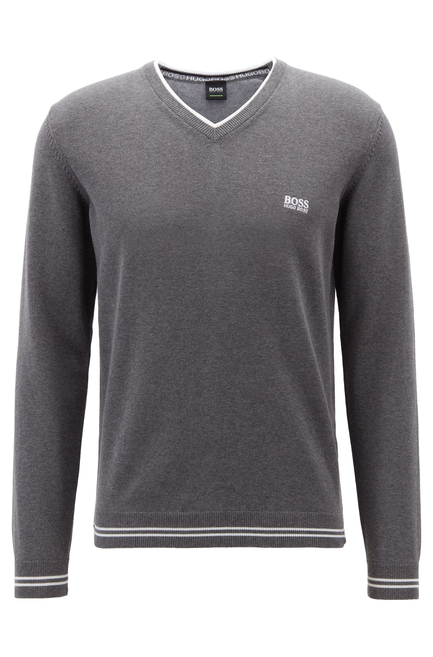 V-neck sweater in a cotton blend with tipping stripes, Grey