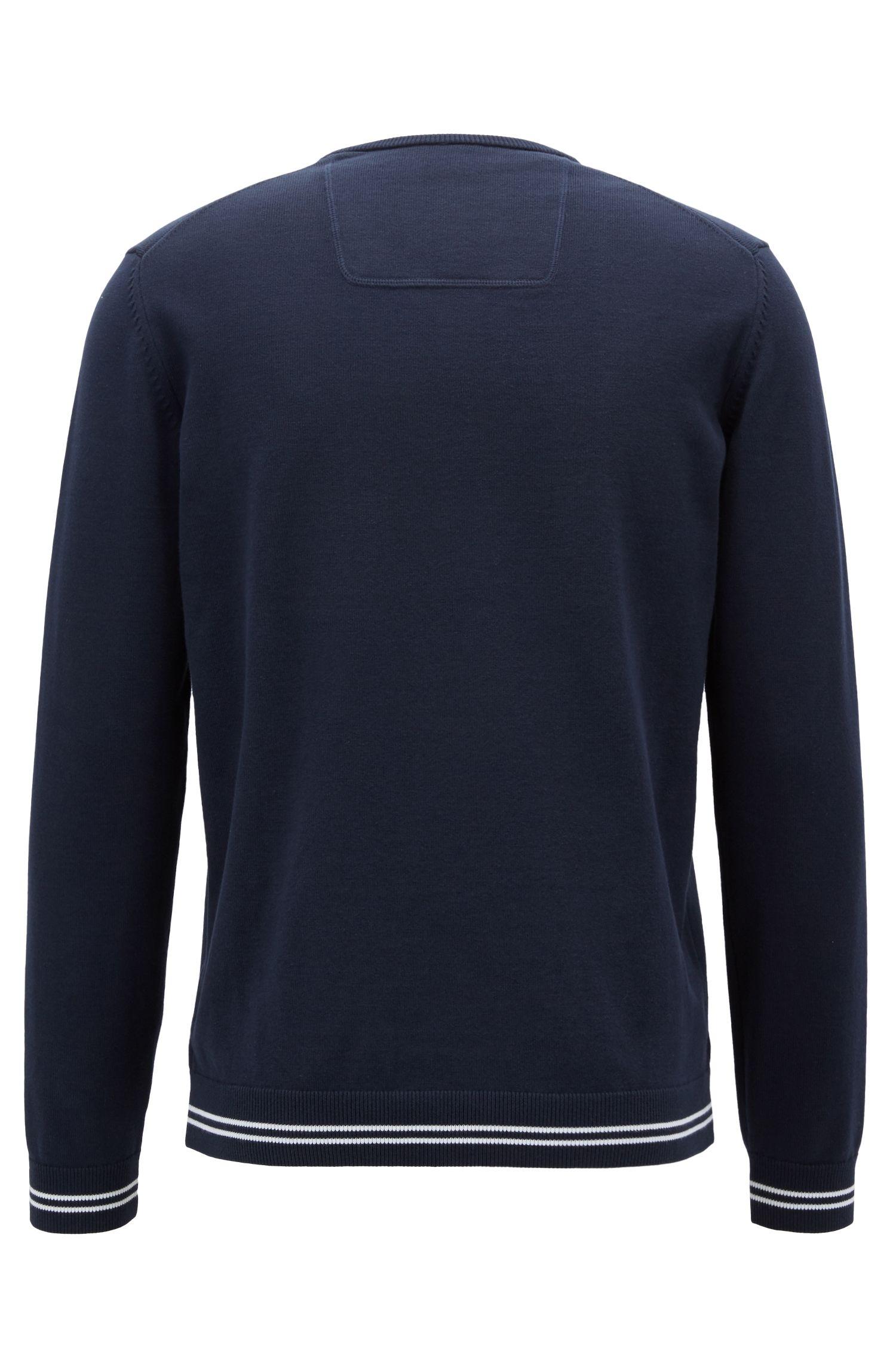 V-neck sweater in a cotton blend with tipping stripes, Dark Blue