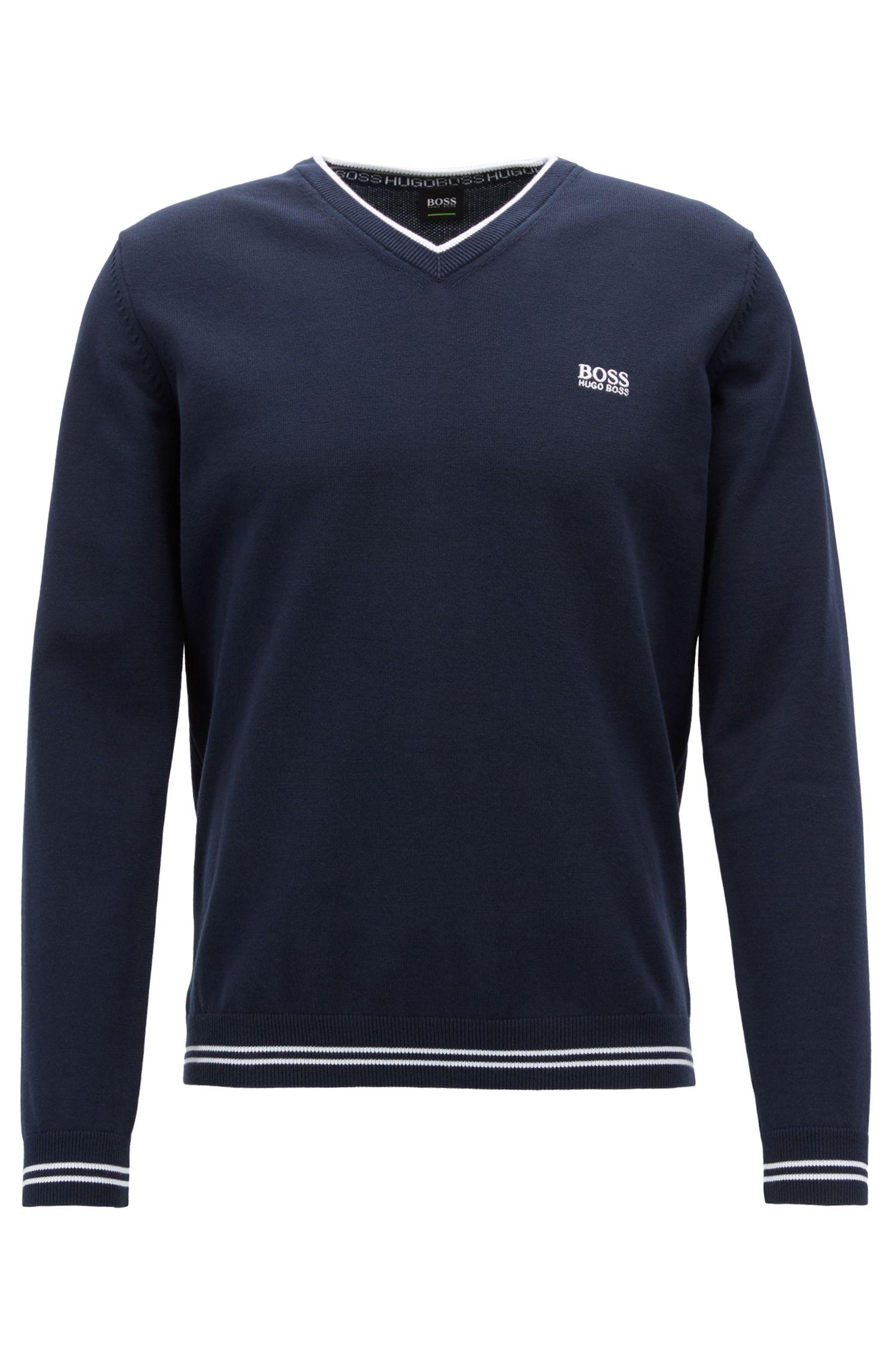 Pullover aus Baumwoll-Mix mit V-Ausschnitt und Kontrast-Streifen, Dunkelblau