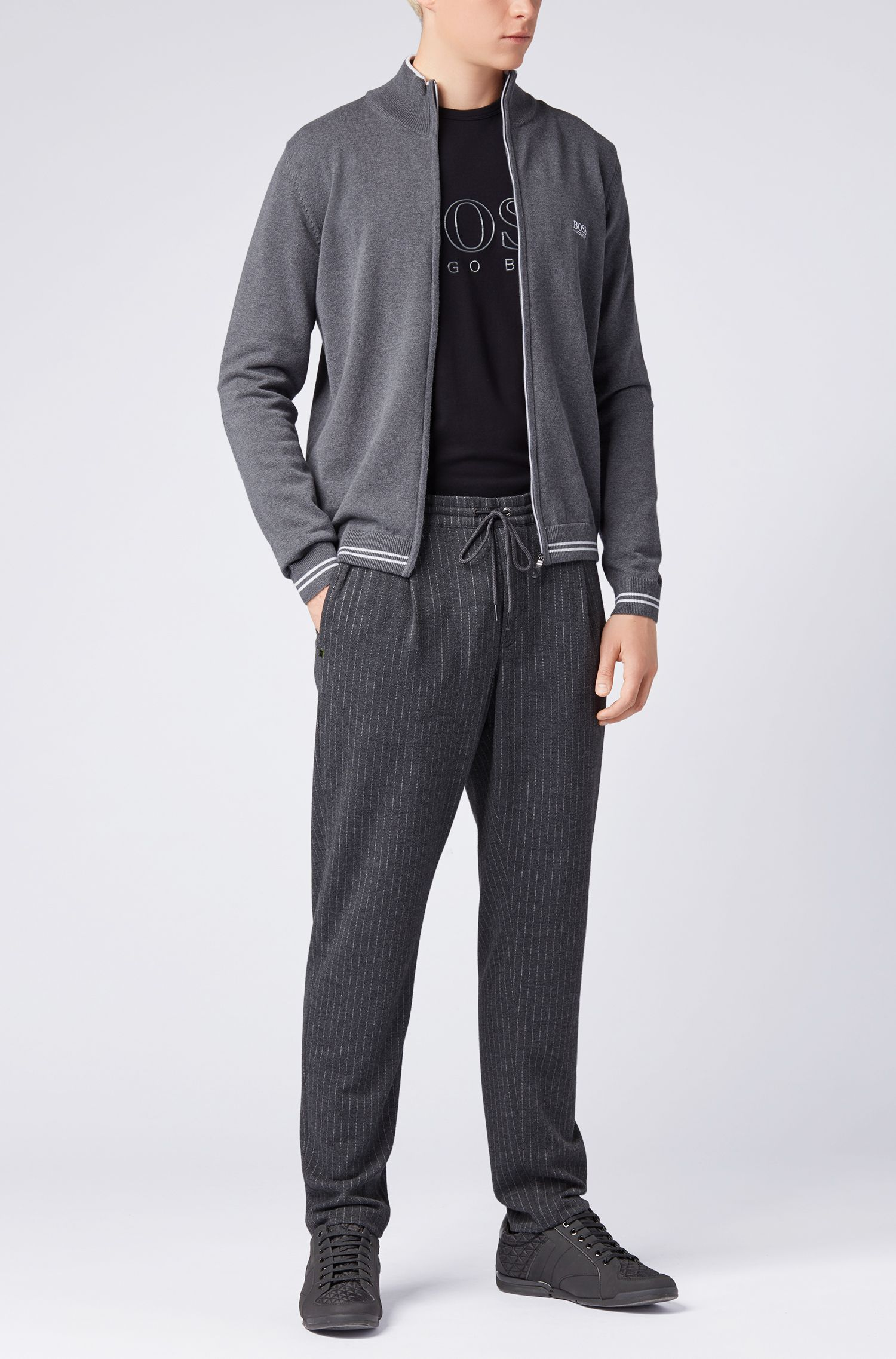 Regular-fit zipped cardigan with contrast elbow patches, Grey