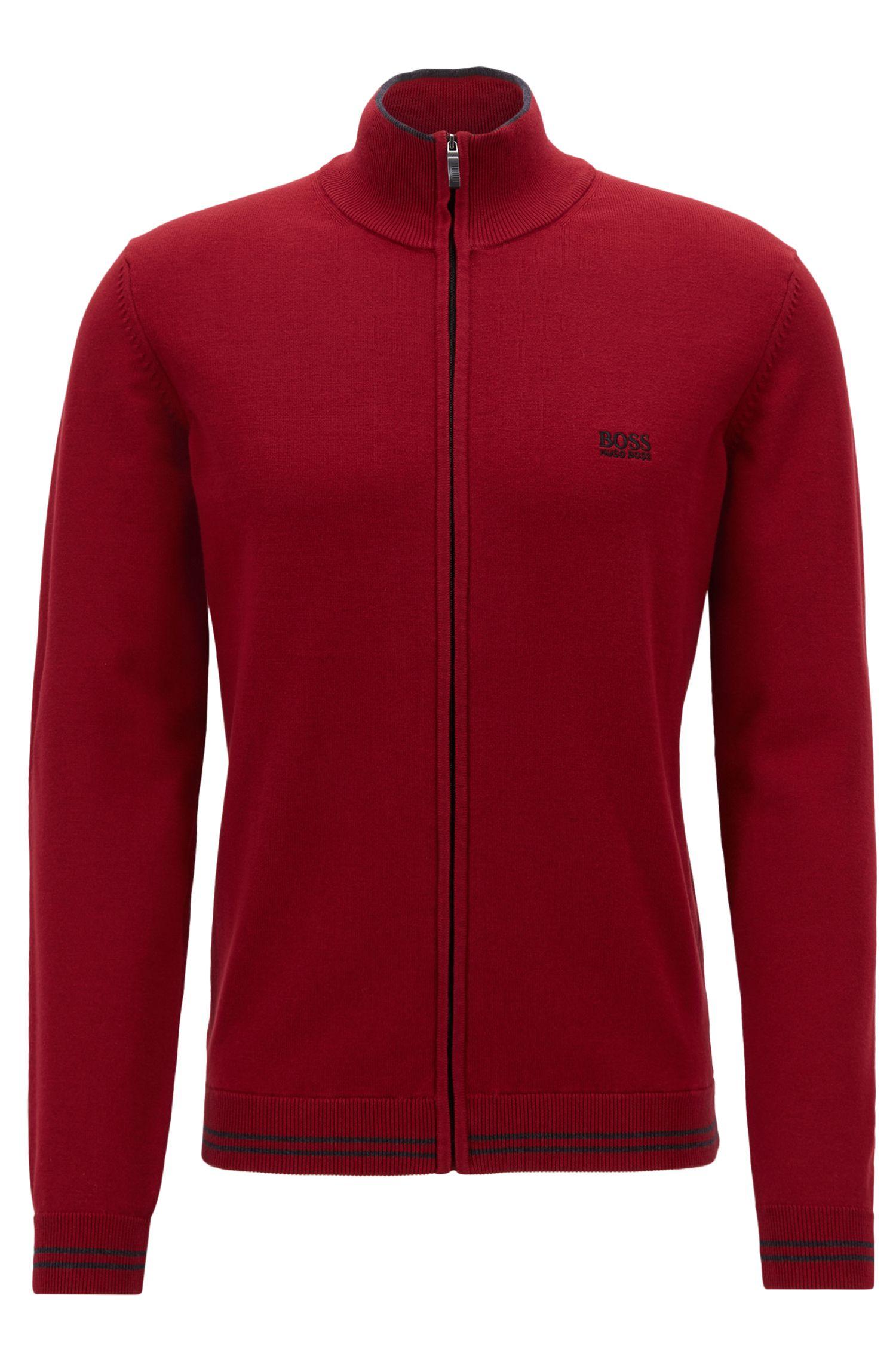 Regular-fit vest met rits en contrasterende elleboogpatches, Donkerrood