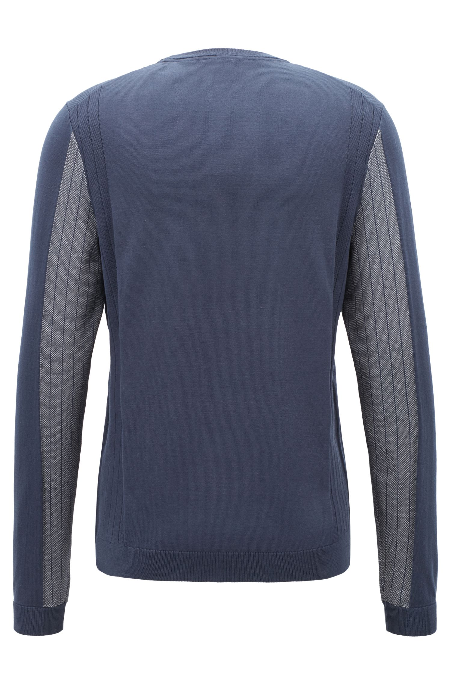 Crew-neck sweater with embossed logo and tonal details, Dark Blue