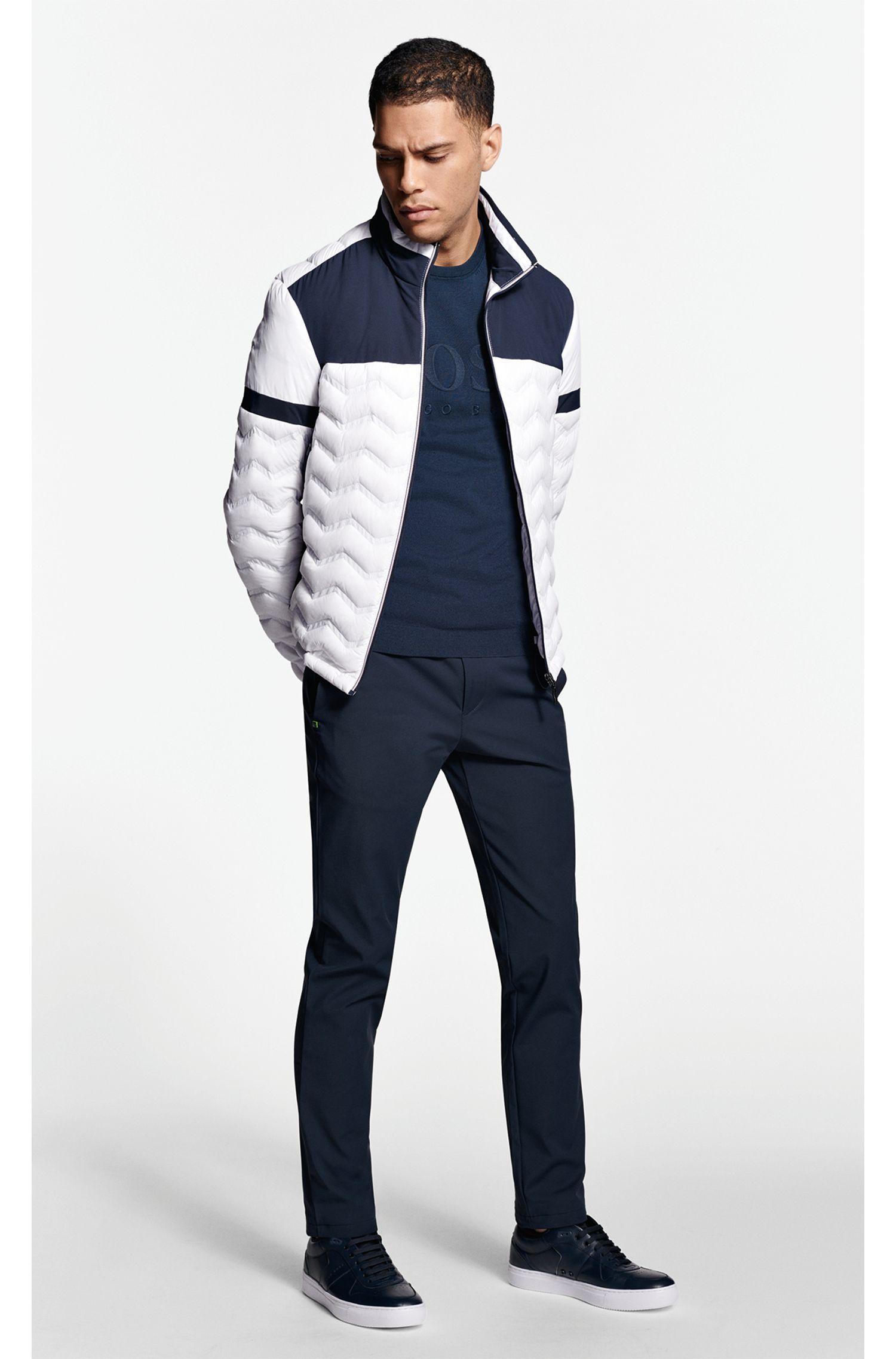 Pullover aus Baumwoll-Mix mit Logo-Prägung und tonalen Details, Dunkelblau