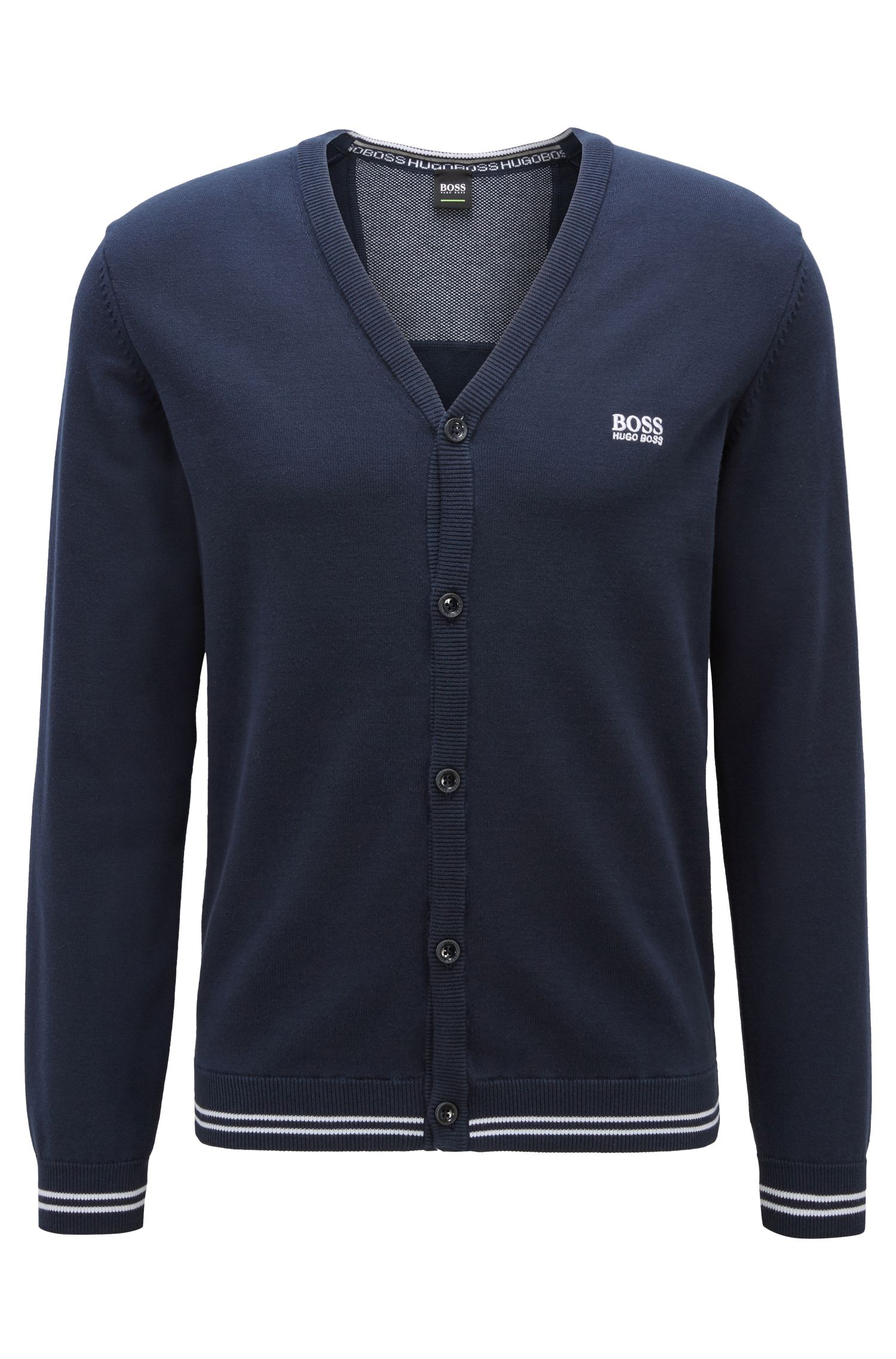 V-neck cardigan in a cotton blend with tipping stripes, Dark Blue