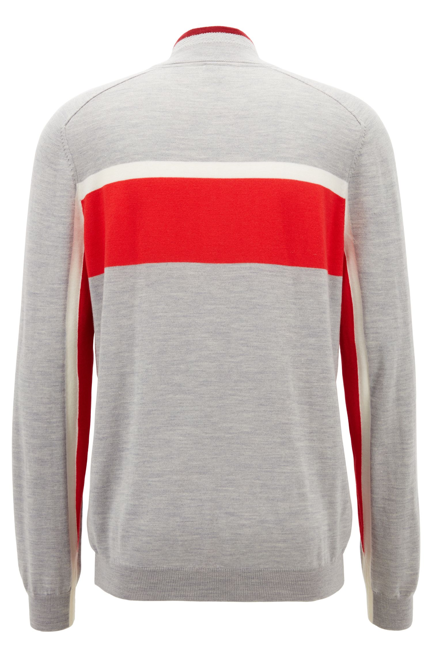 Colour-block sweater in virgin wool with zip neck, Light Grey