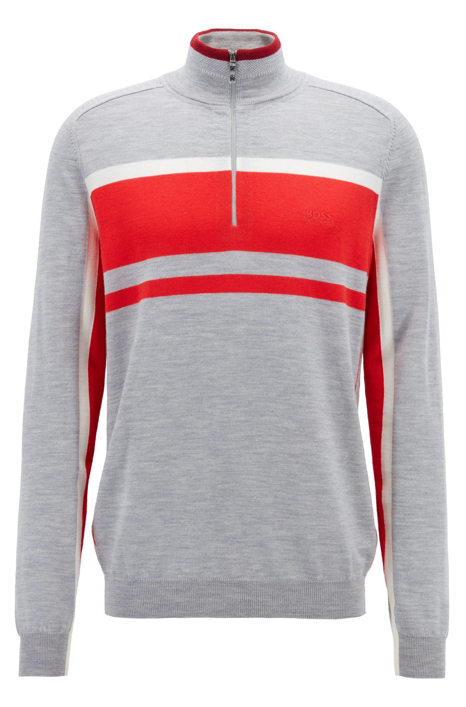 Colour-Block-Pullover aus Schurwolle mit Troyerkragen, Hellgrau
