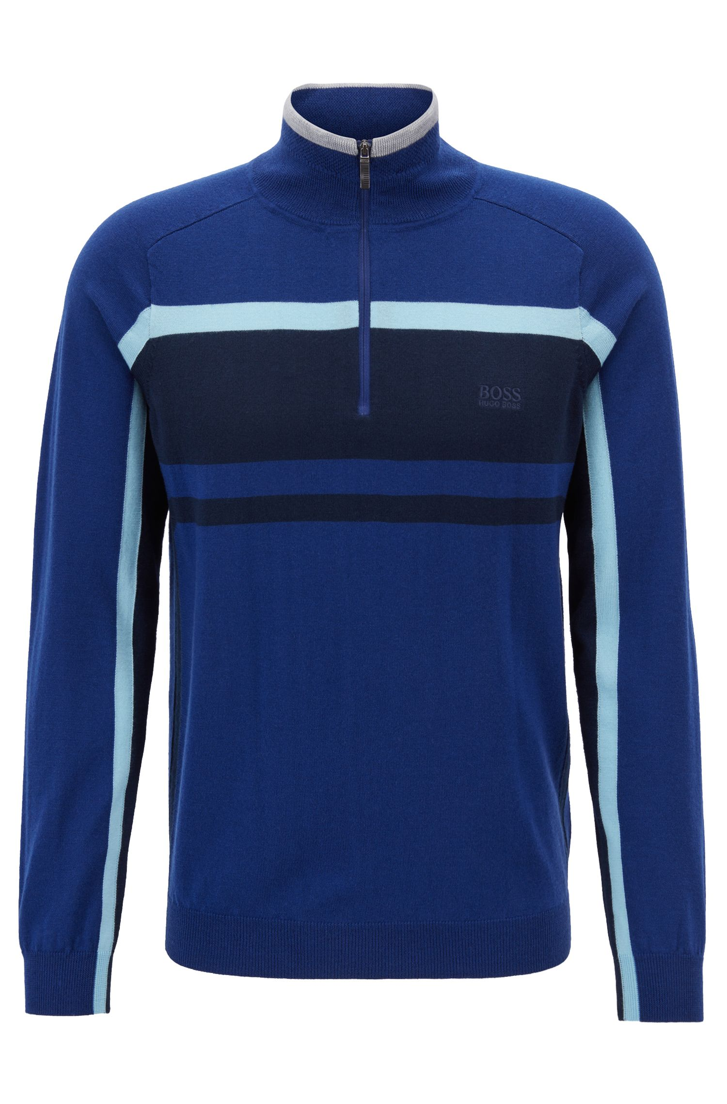 Colour-block sweater in virgin wool with zip neck, Blue