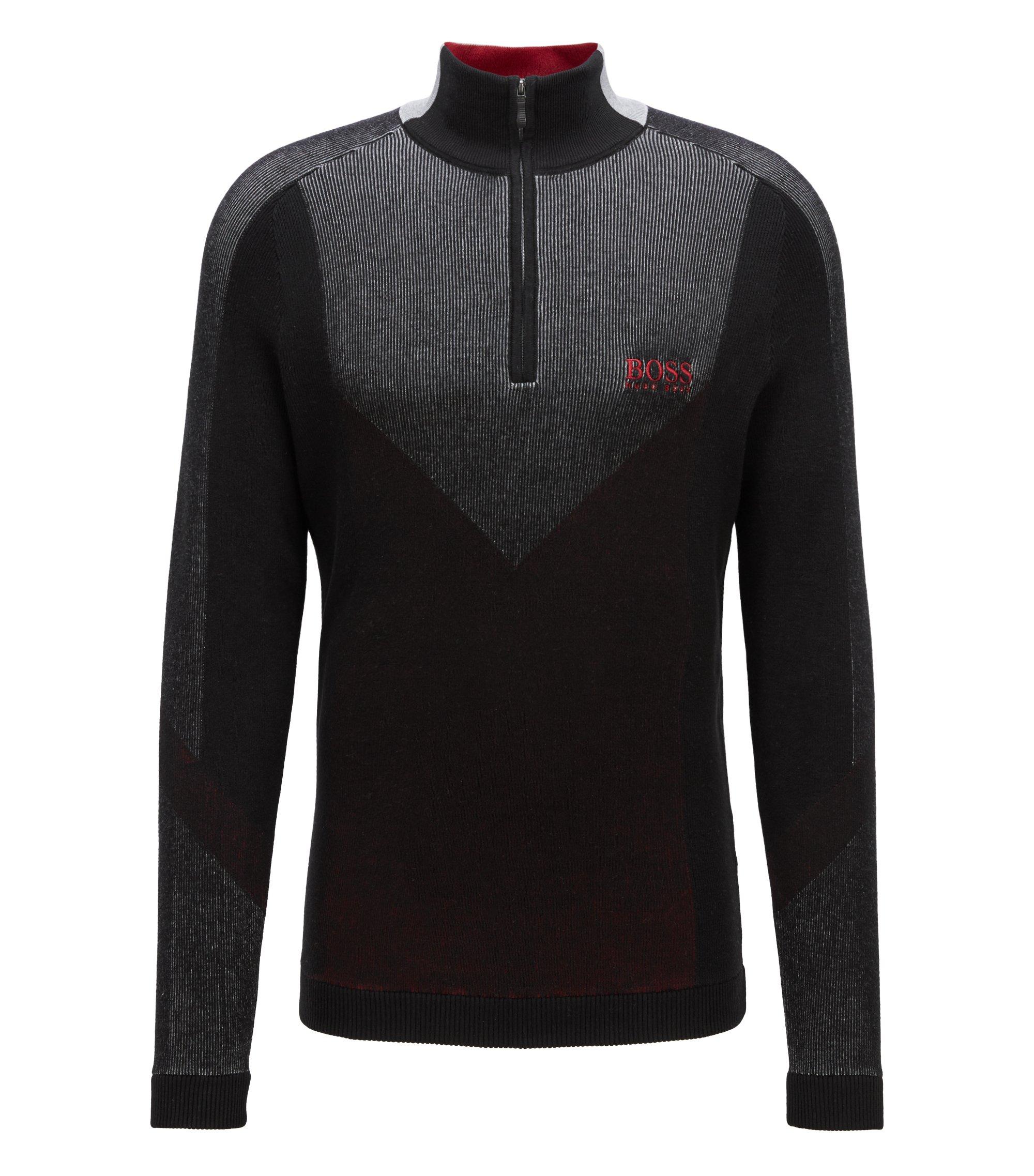 Wasserabweisender Pullover aus elastischem Baumwoll-Mix, Schwarz