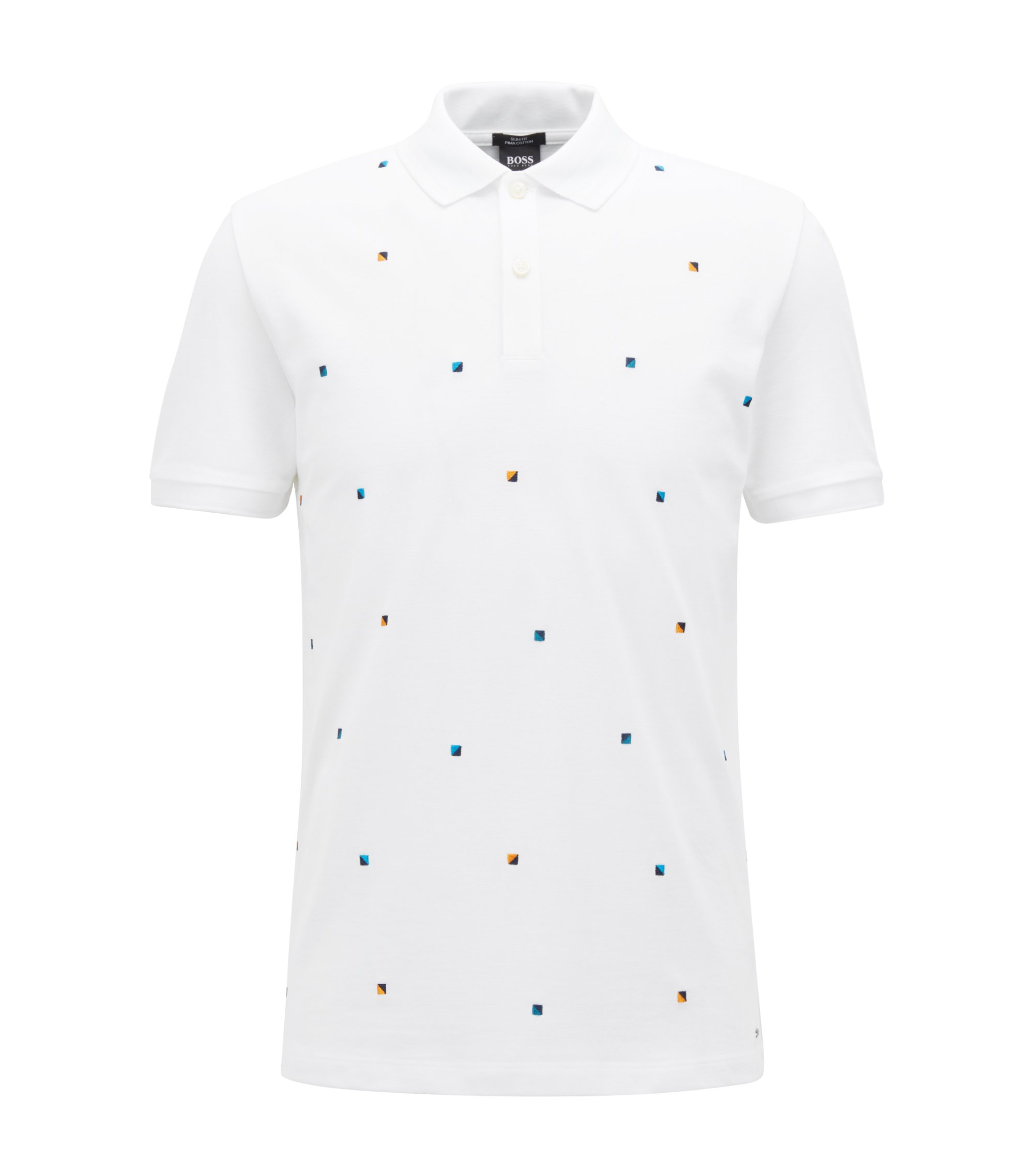 Slim-fit polo shirt in cotton with multicoloured embroidery, White