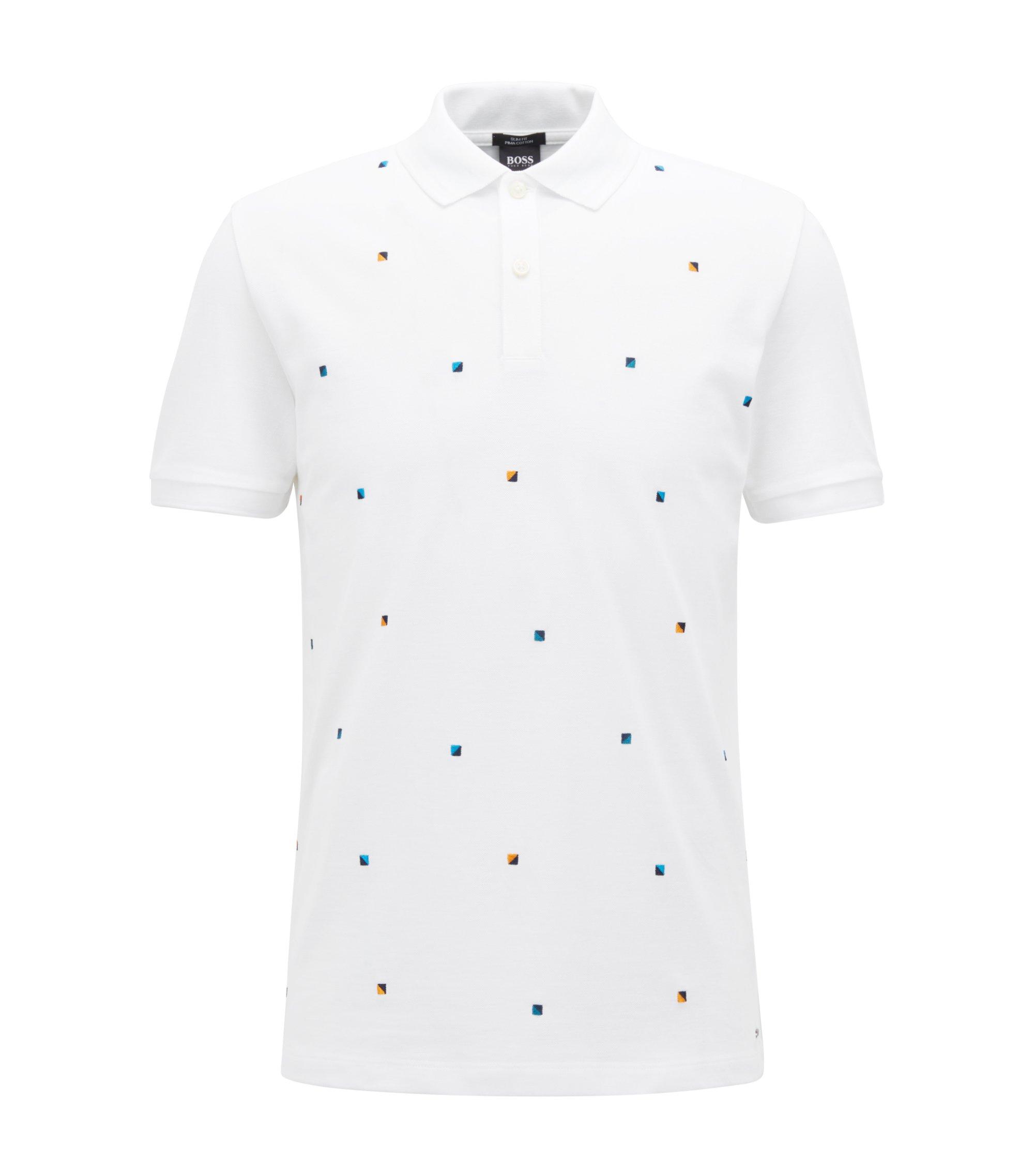 Polo Slim Fit en coton avec broderie multicolore, Blanc