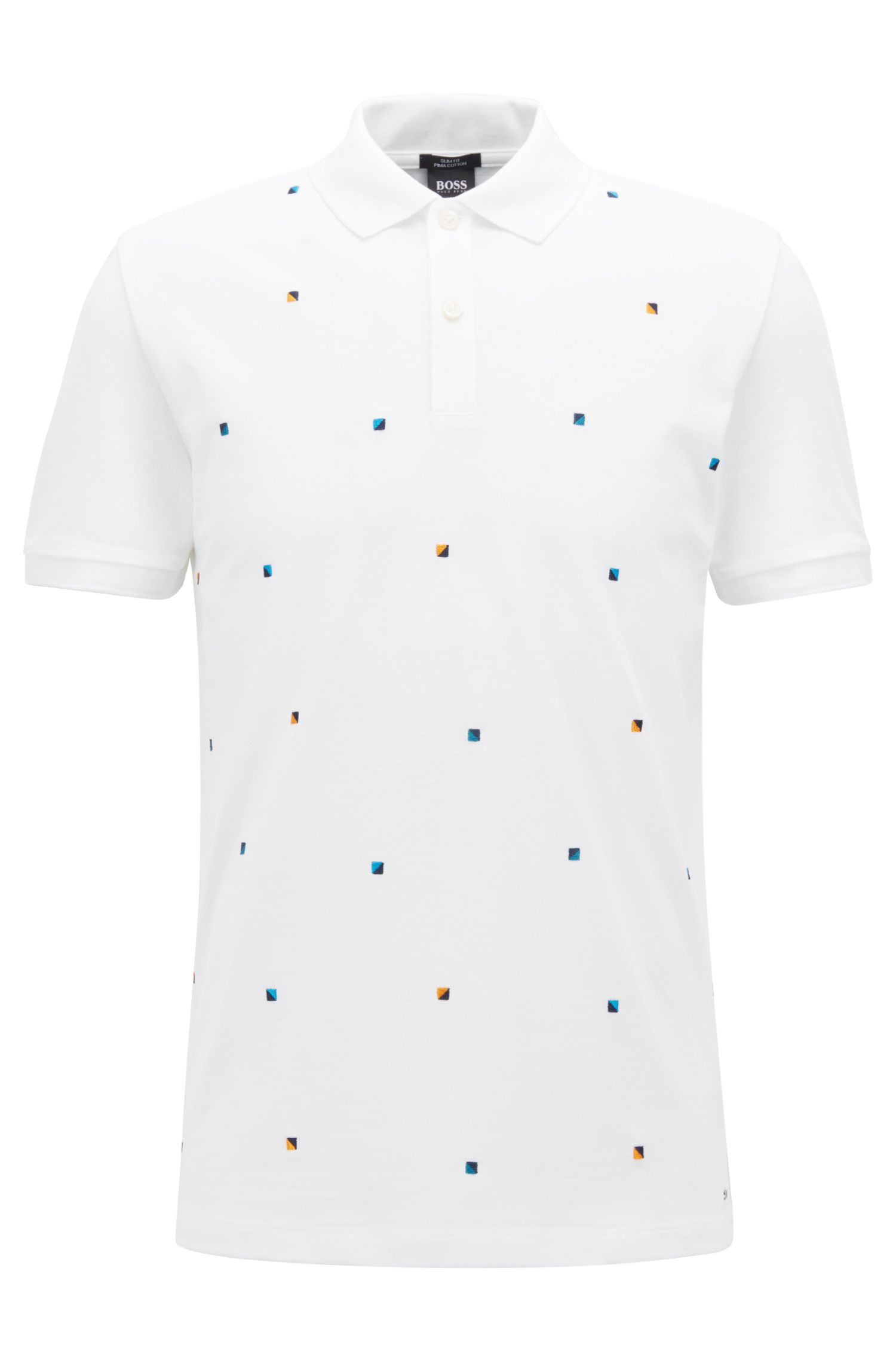 Slim-fit polo shirt in cotton with multicoloured embroidery