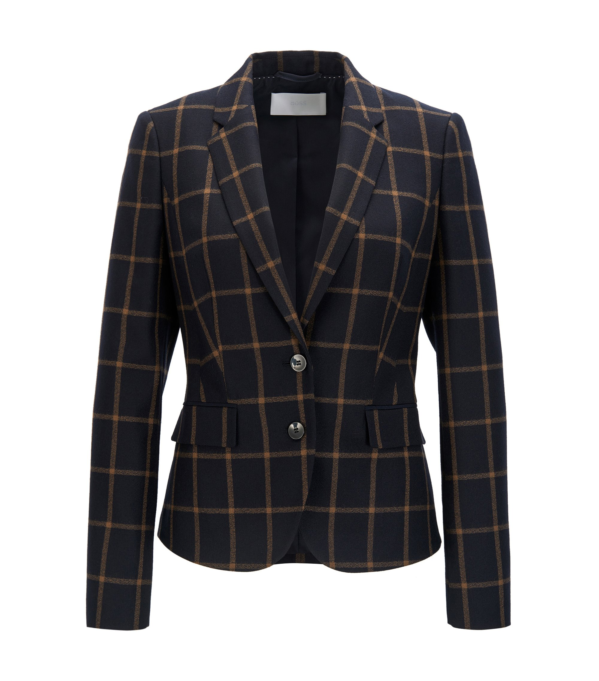 Regular-fit tailored jacket in virgin wool, Patterned
