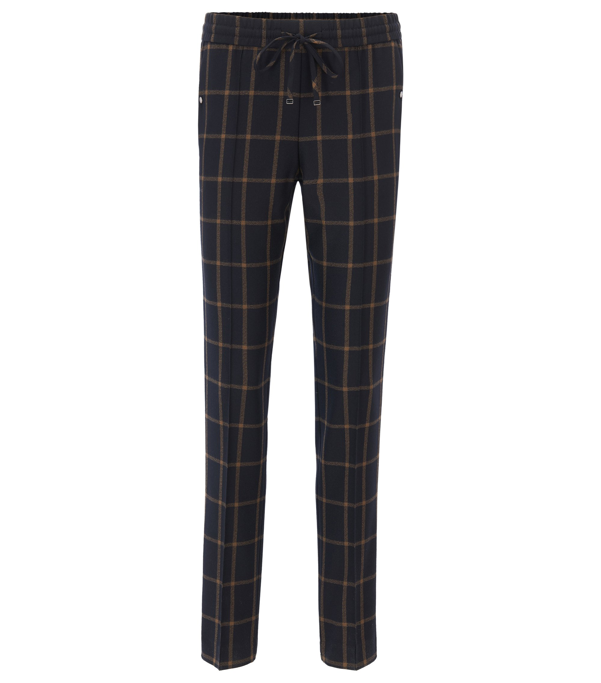 Relaxed-fit cropped drawstring trousers in checked virgin wool, Patterned