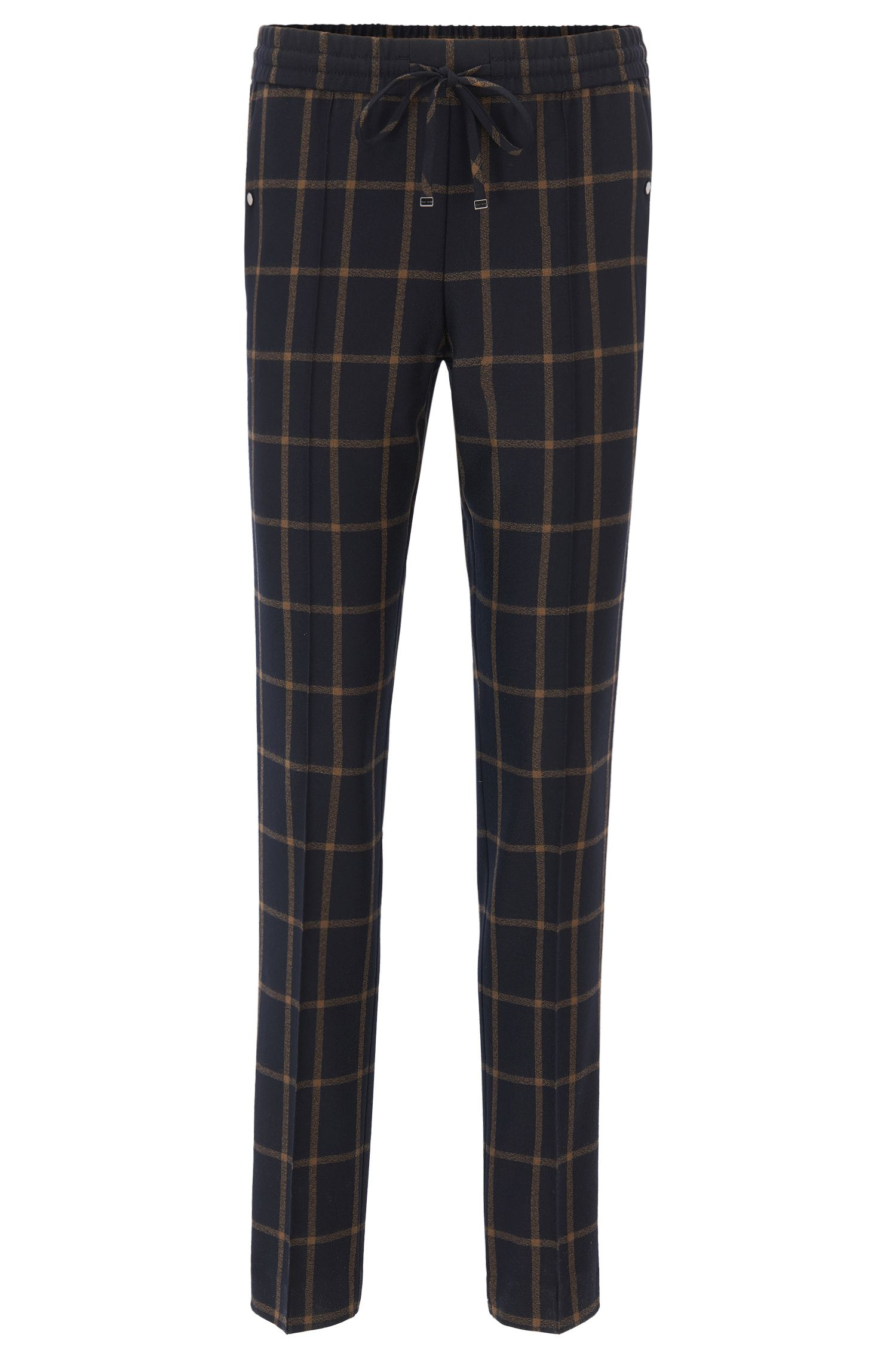 Relaxed-fit cropped drawstring trousers in checked virgin wool BOSS