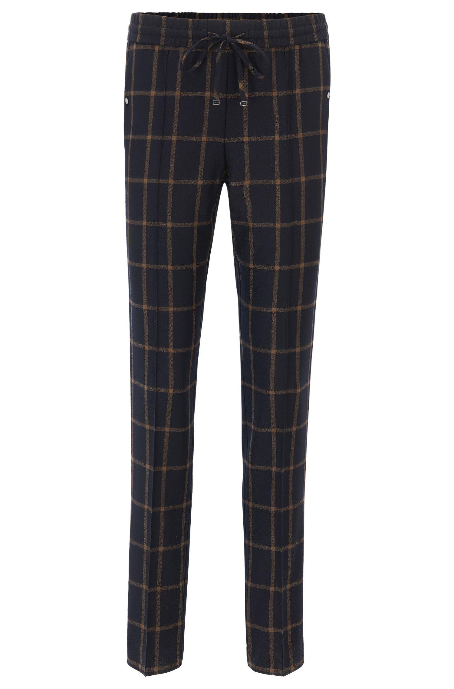 Pantalon Relaxed Fit raccourci en laine vierge à carreaux avec cordon de serrage