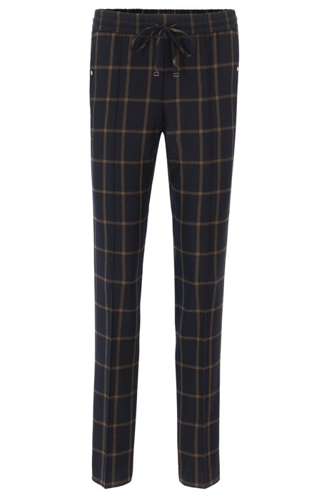 Relaxed-fit cropped drawstring trousers in checked virgin wool BOSS Outlet Prices O01Yl