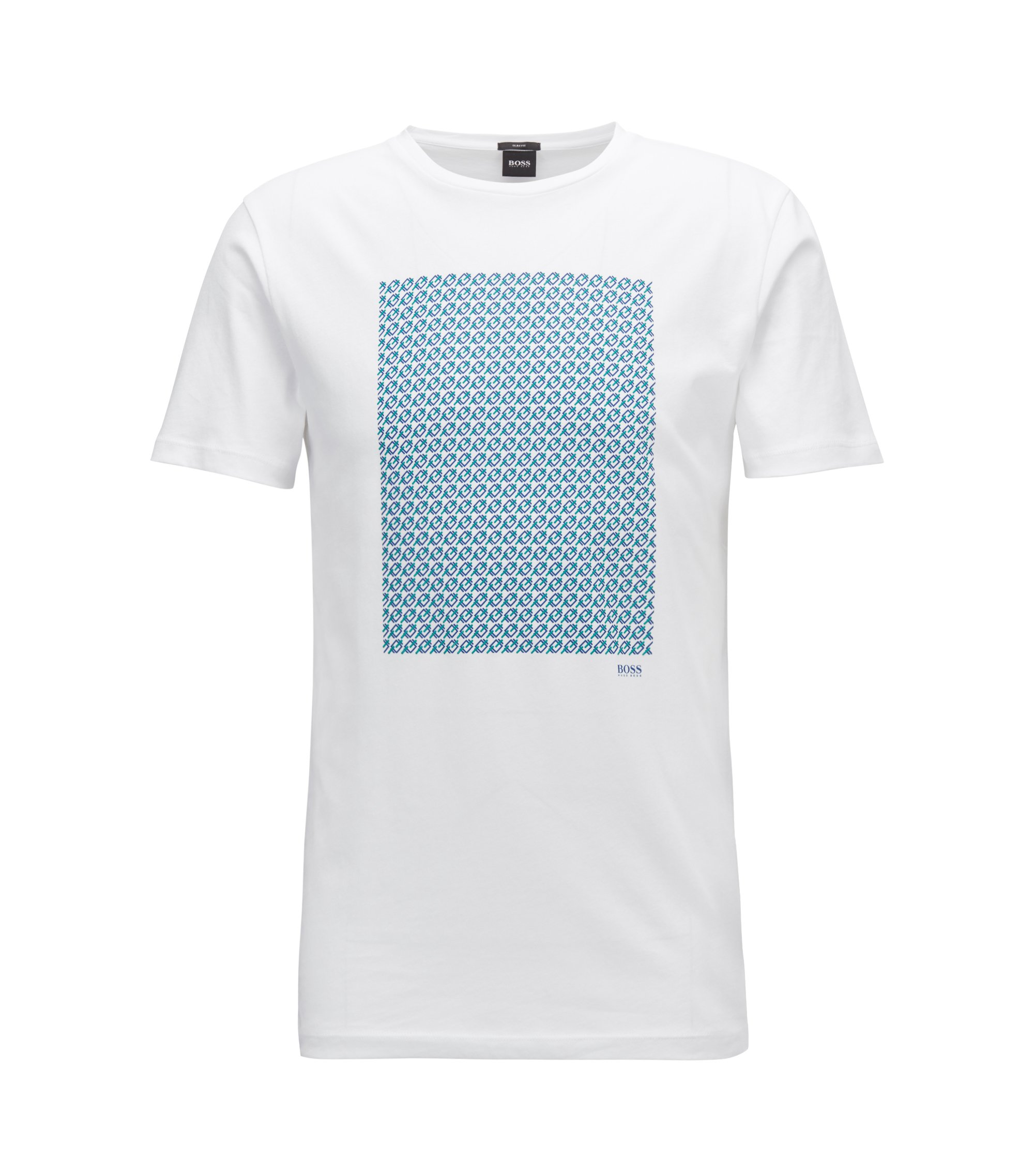 T-shirt con stampa slim fit in jersey di cotone, Bianco