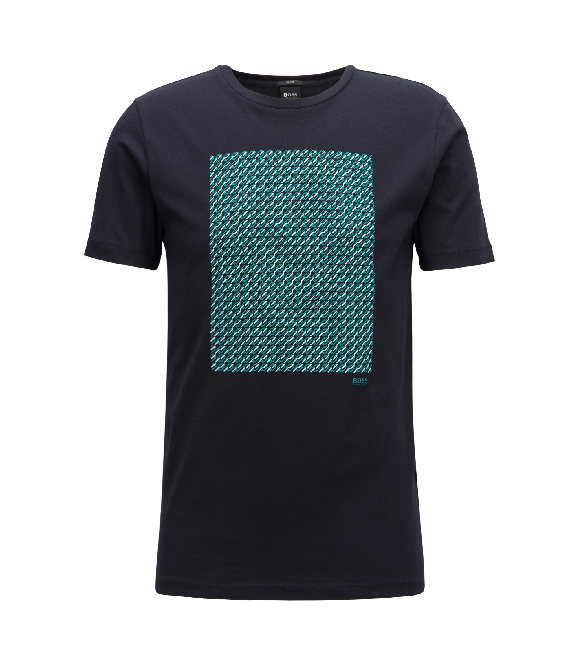 Slim-fit printed T-shirt in single-jersey cotton, Blue