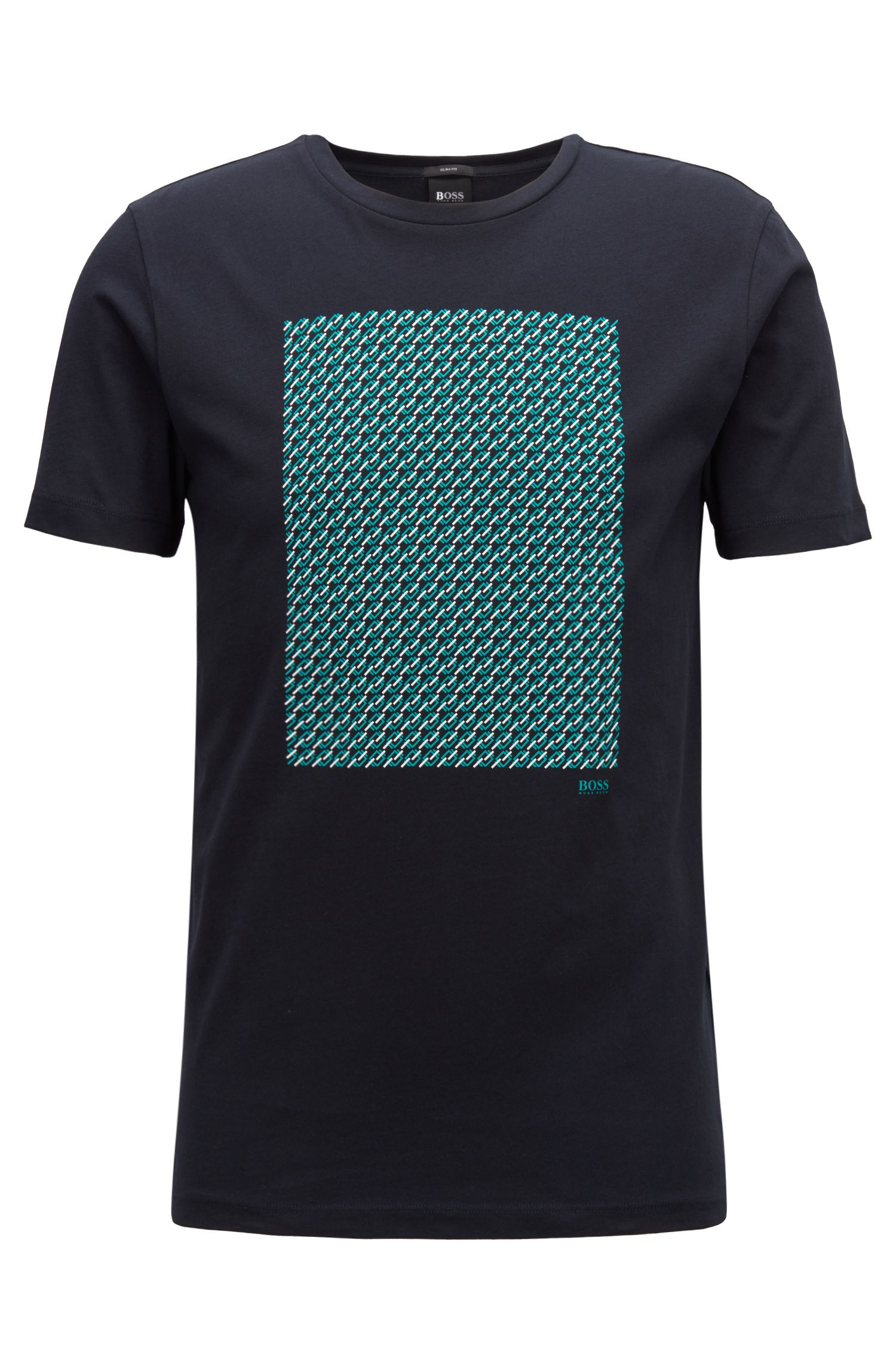 T-Shirt aus Single Jersey mit Print, Blau