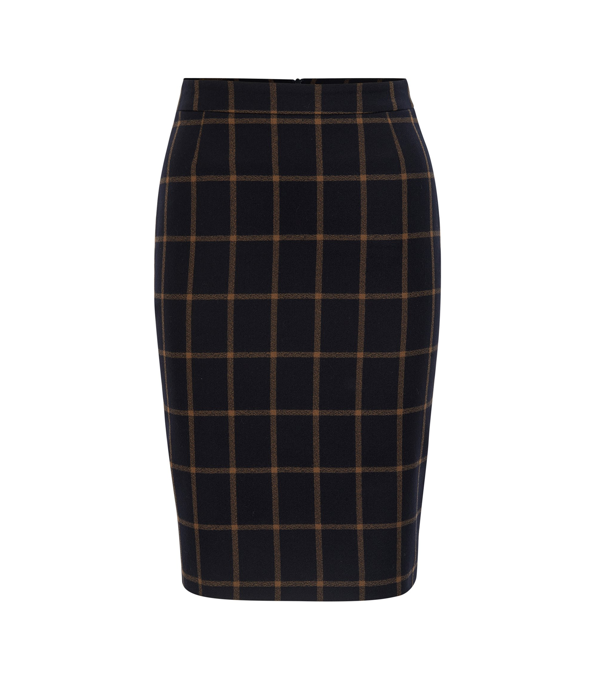 Pencil skirt in checked virgin wool, Patterned
