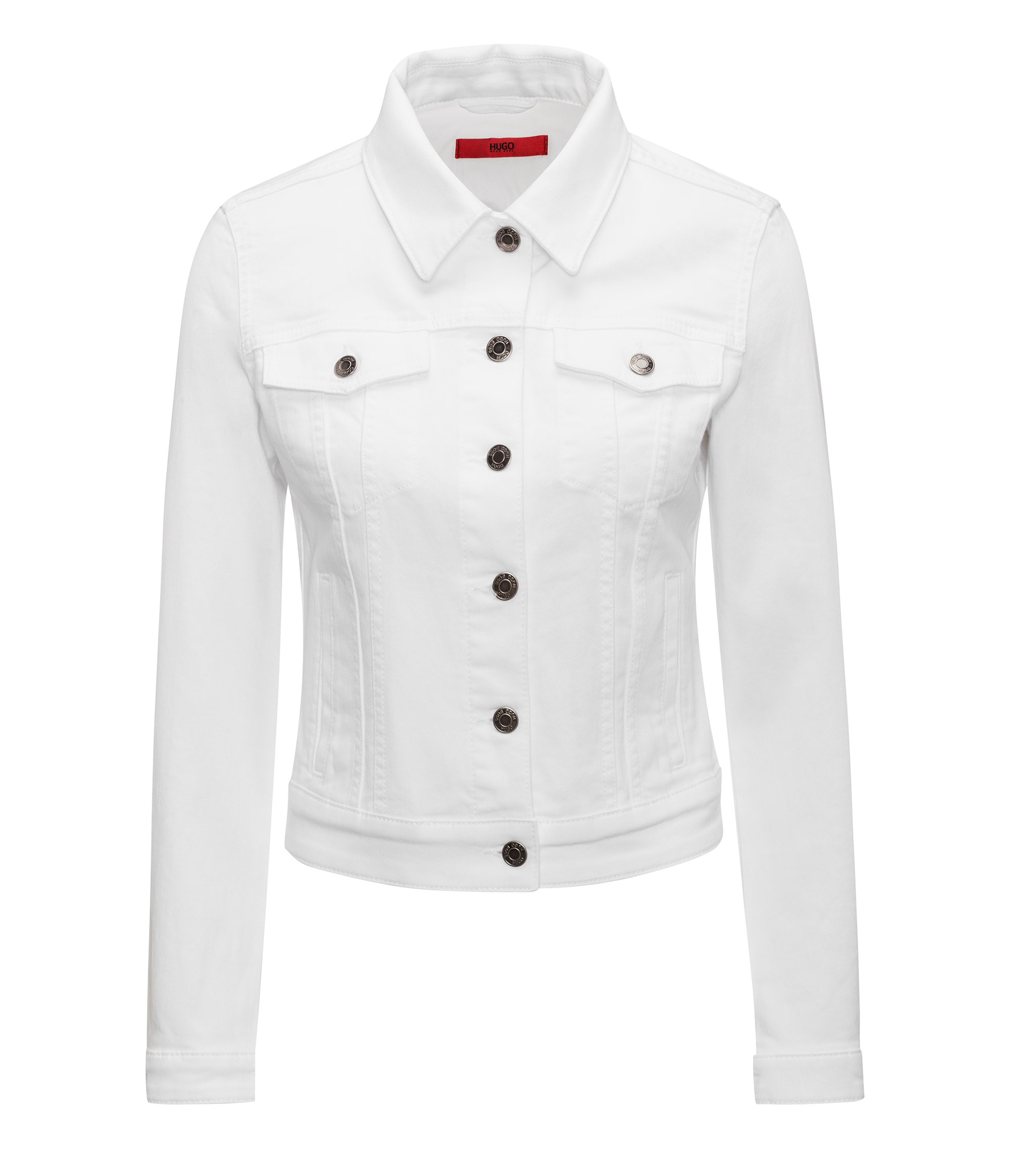 Slim-fit cropped denim jacket in white, White